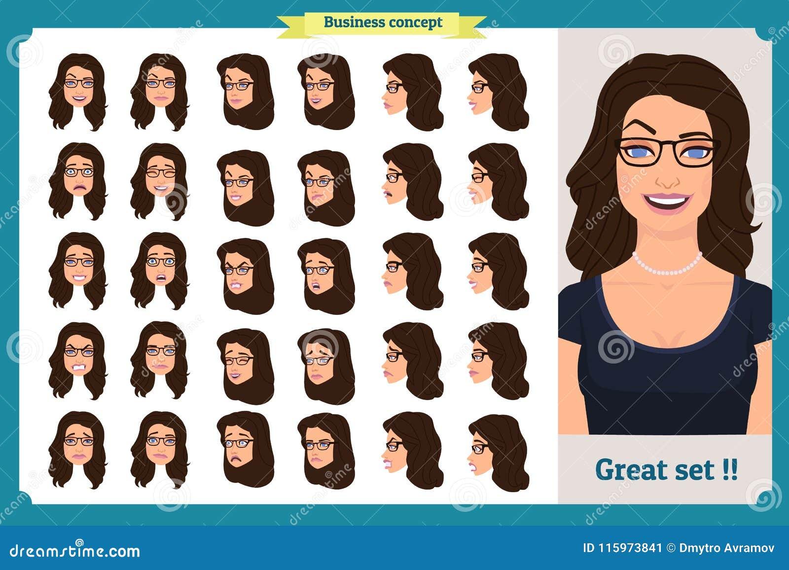 套妇女` s情感设计 表情 女孩事务 前面,边,外形视图给字符赋予生命 也corel凹道例证向量