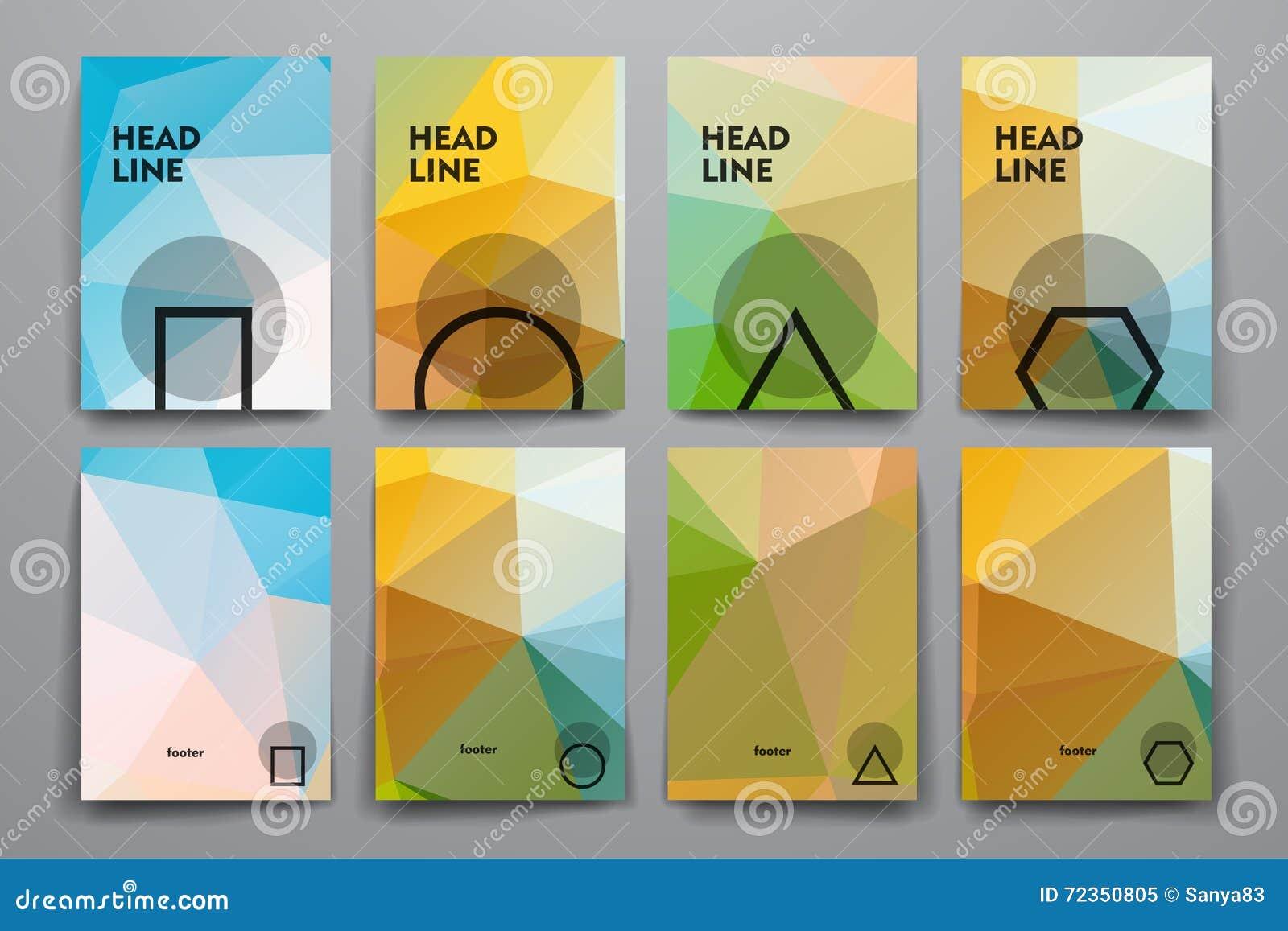 套小册子,海报在多角形样式的设计模板