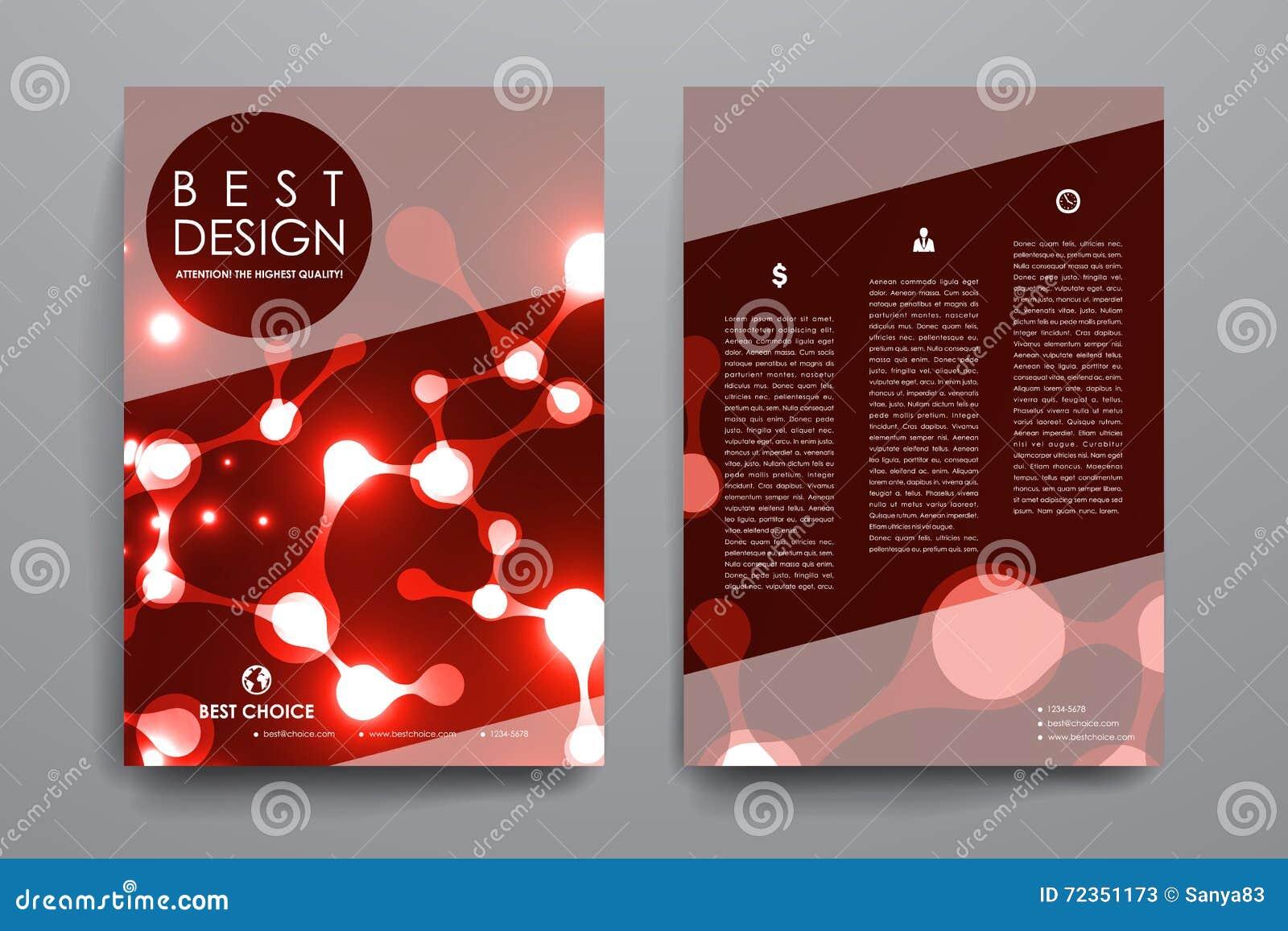 套小册子,海报在霓虹分子结构样式的设计模板