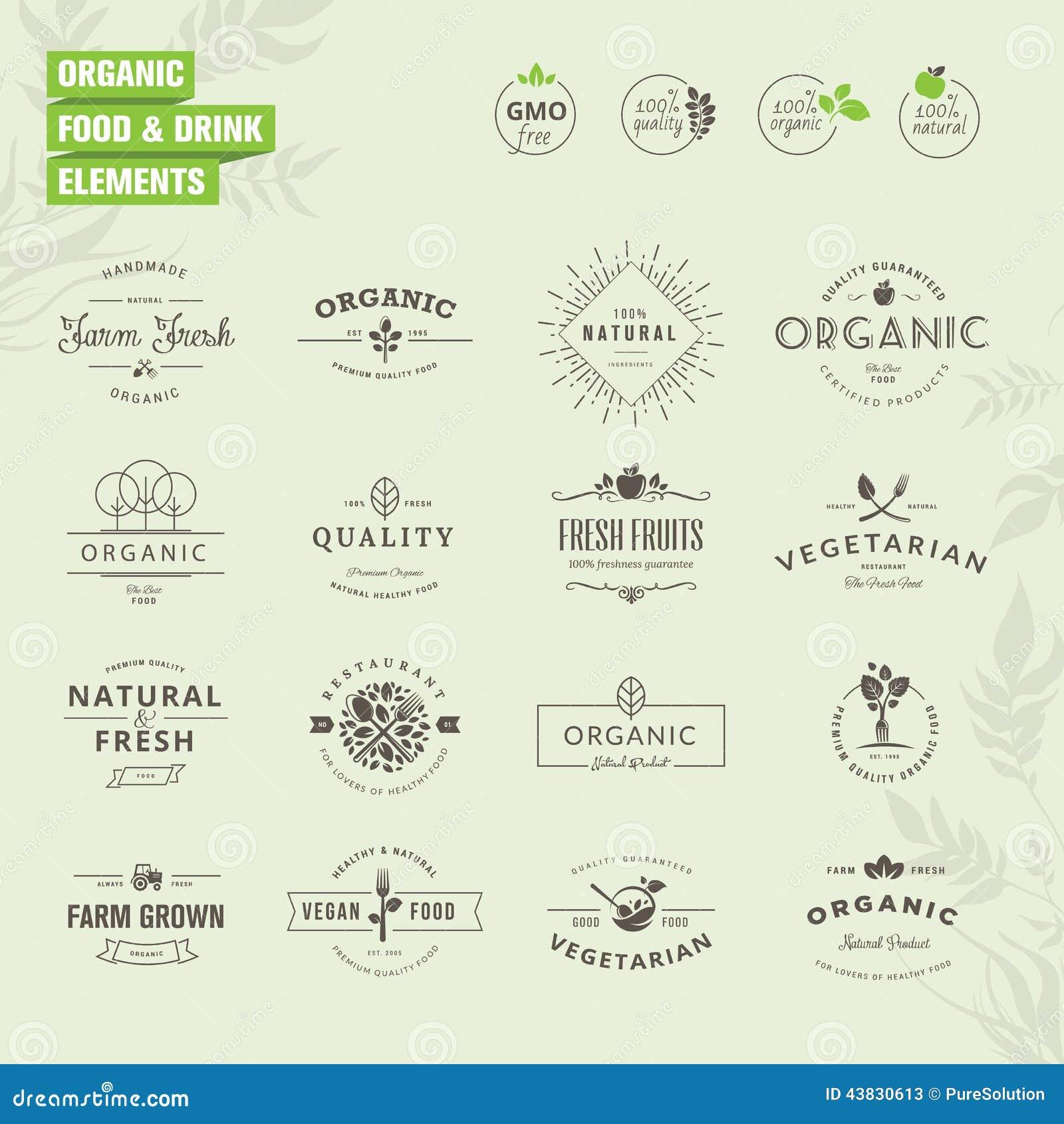 套徽章和标签元素有机食品和饮料的