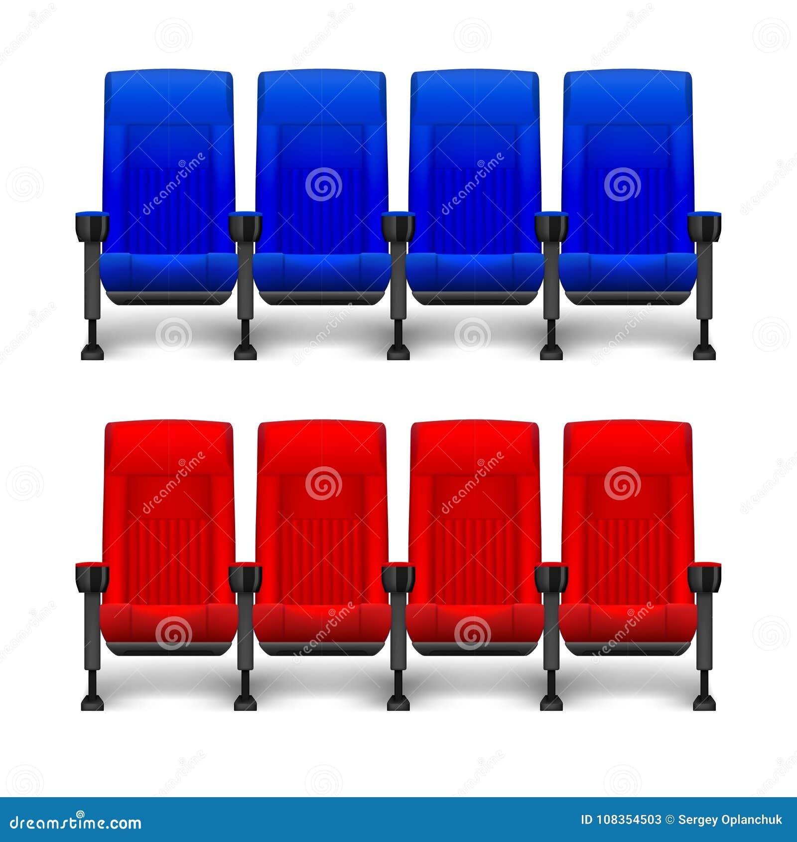 套戏院剧院的现实舒适的电影椅子 戏院空的红色和蓝色位子 也corel凹道例证向量
