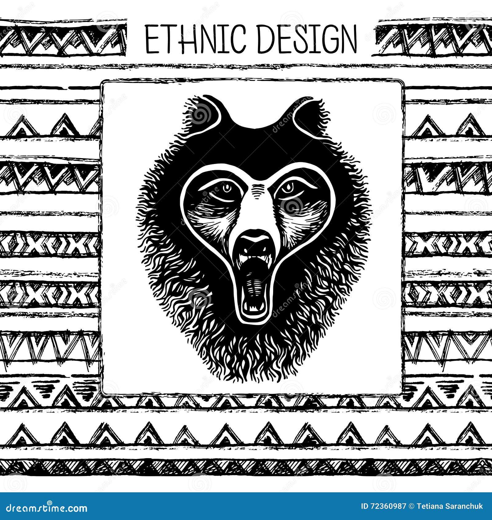 套手画的黑色墨水和白熊面孔,爪子,动物的脚印 黑白颜色