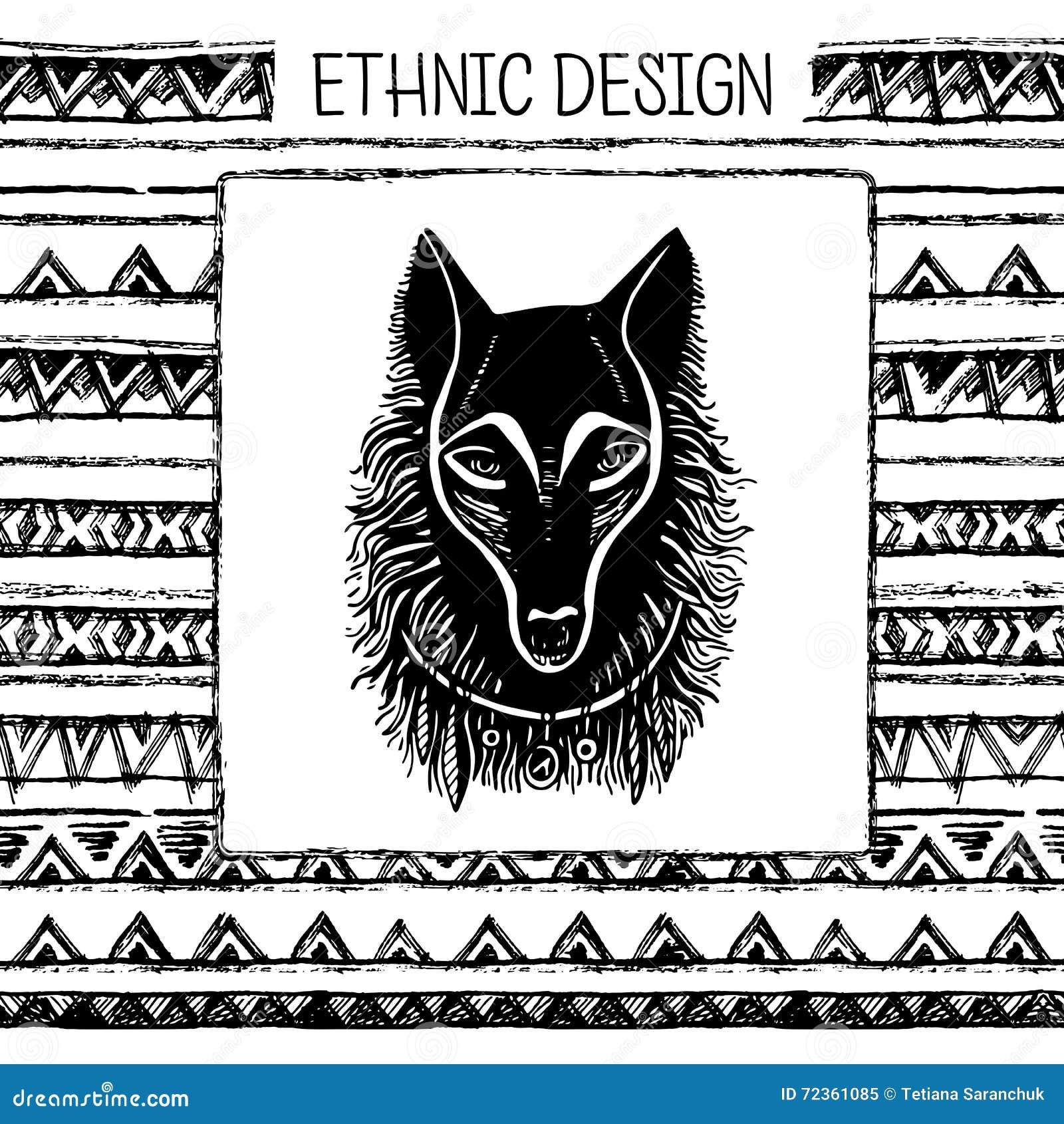 套手画的黑色墨水和白狼面孔 部族种族无缝 黑白颜色