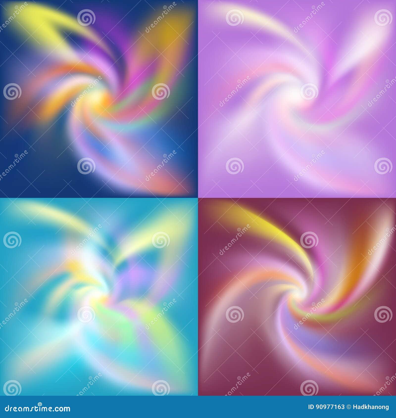 套抽象五颜六色的转弯形状