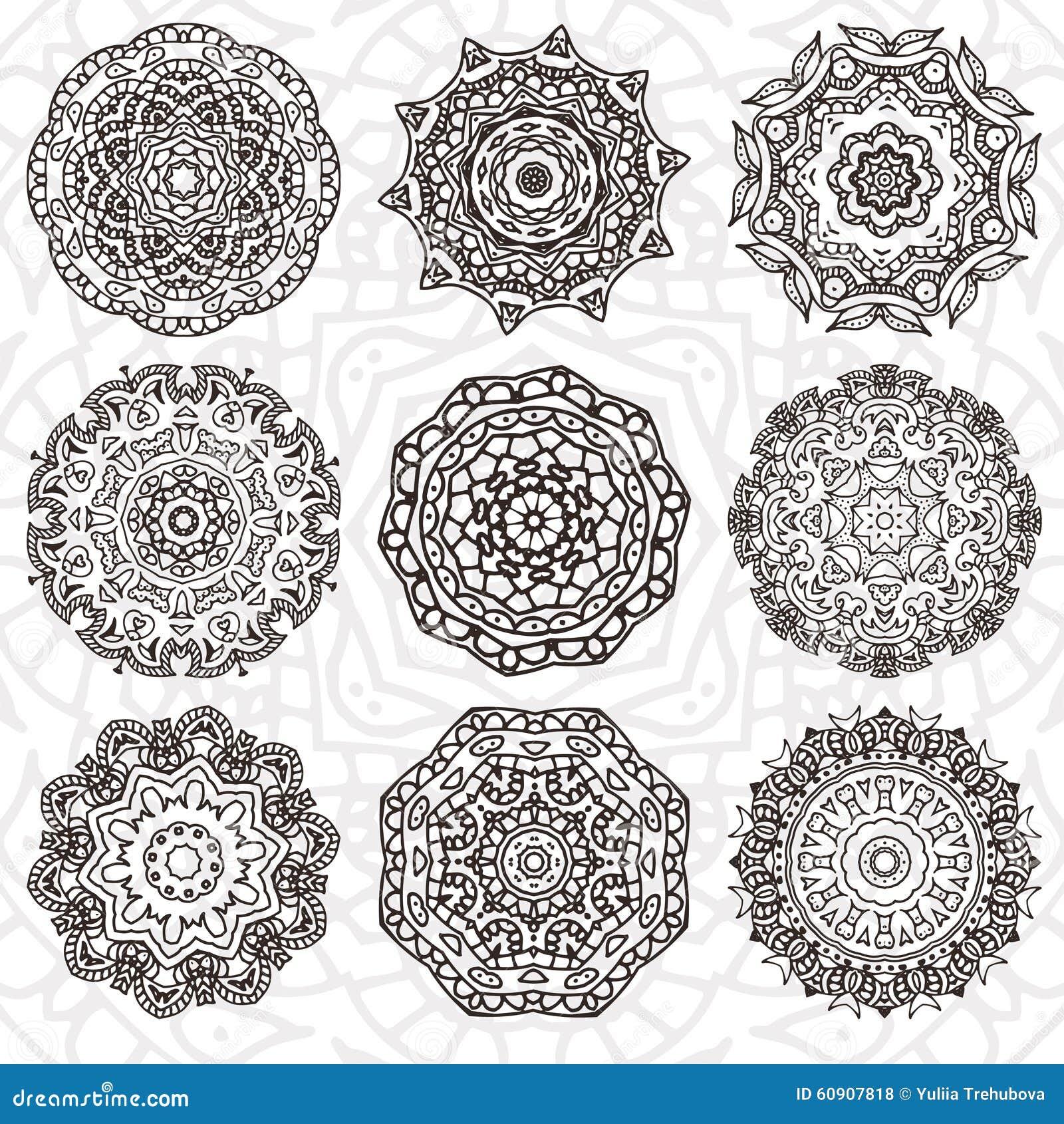 套抽象设计元素 在传染媒介的圆的坛场 您的设计的图表模板 装饰减速火箭的装饰品 拉长的现有量