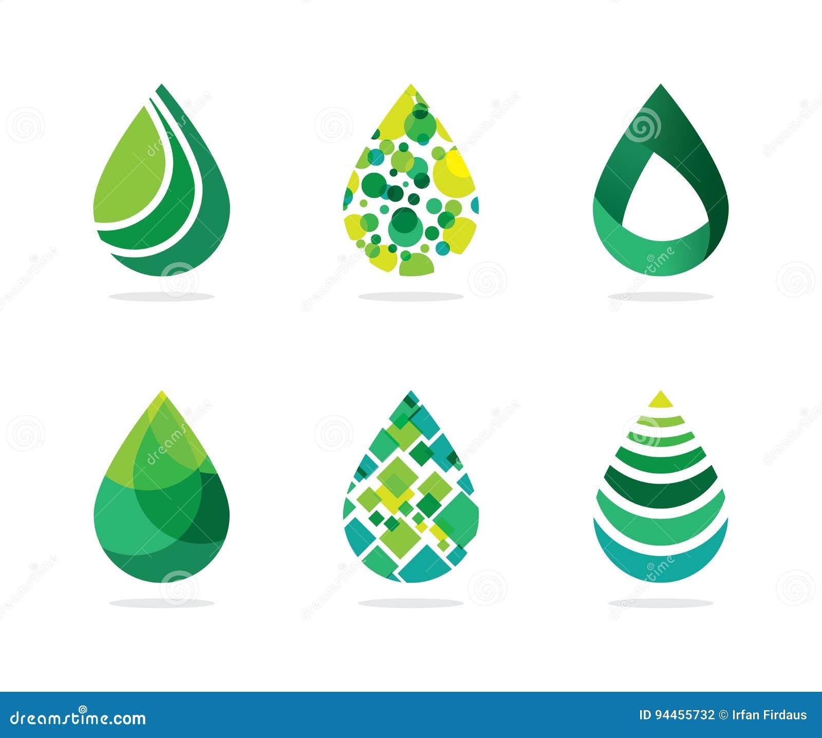 套抽象绿色水下降标志