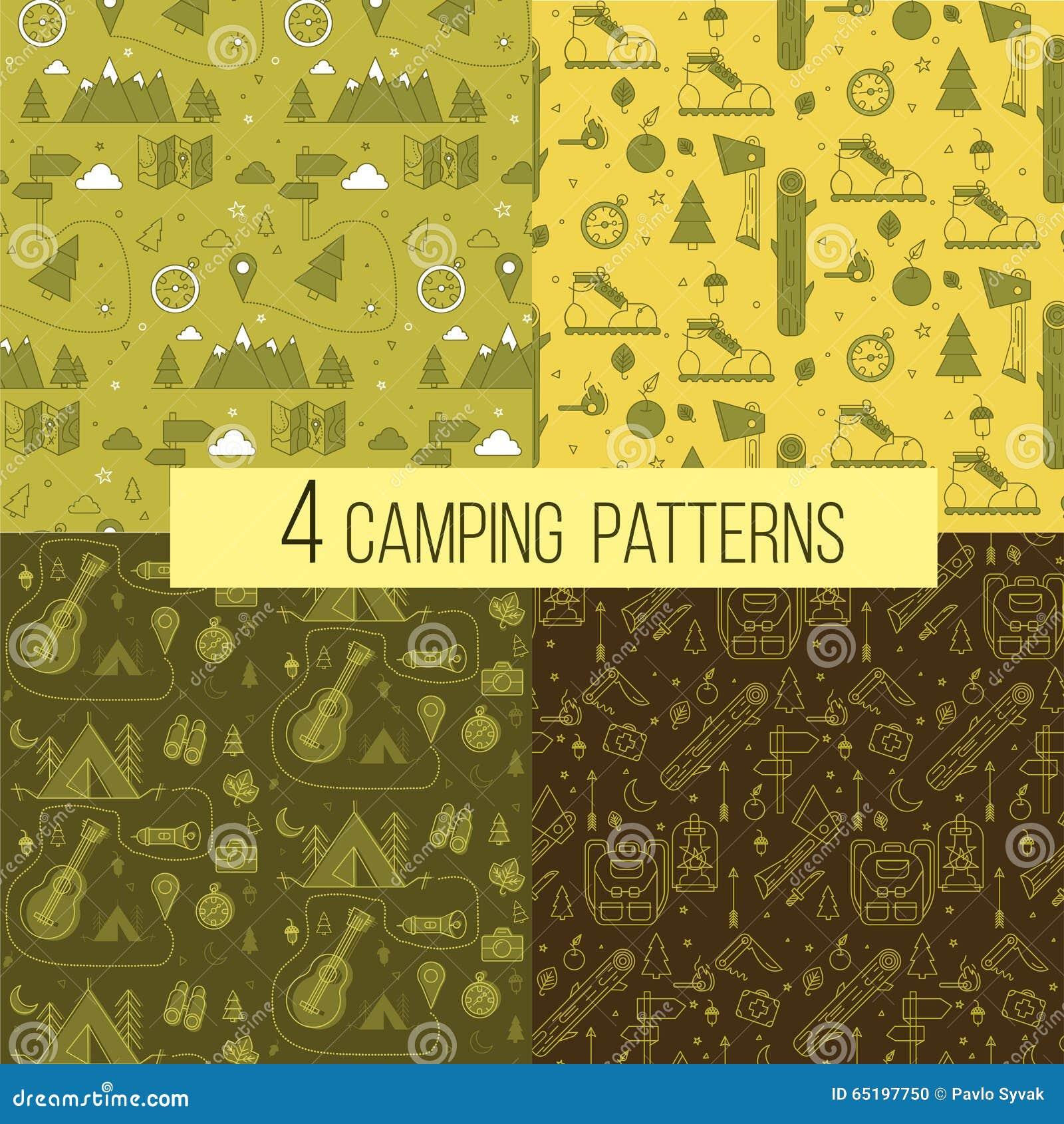套无缝的野营的样式