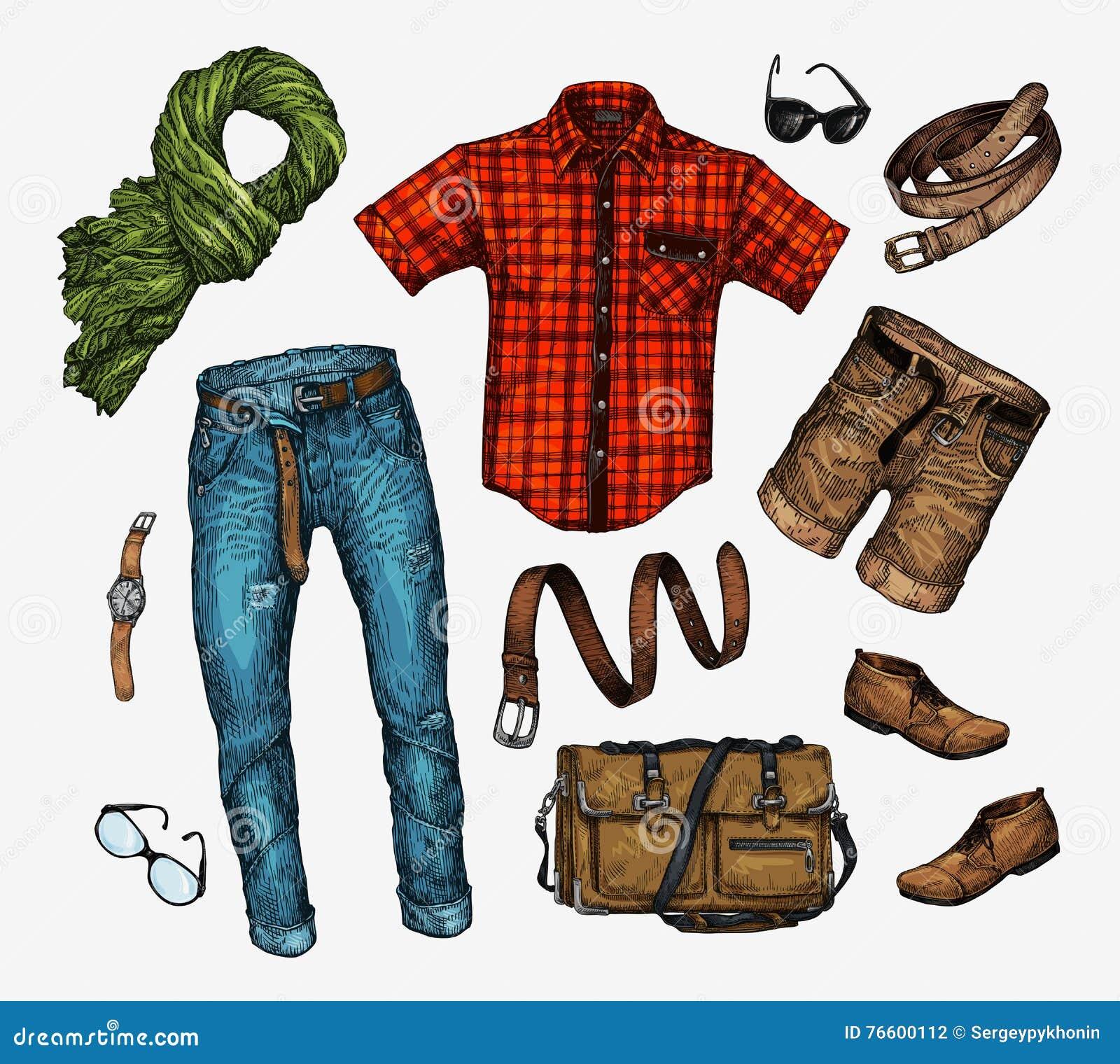 套时髦人s衣裳 装备人颈巾,衬衣,袋子,牛仔裤,裤子,短裤,皮带,鞋子