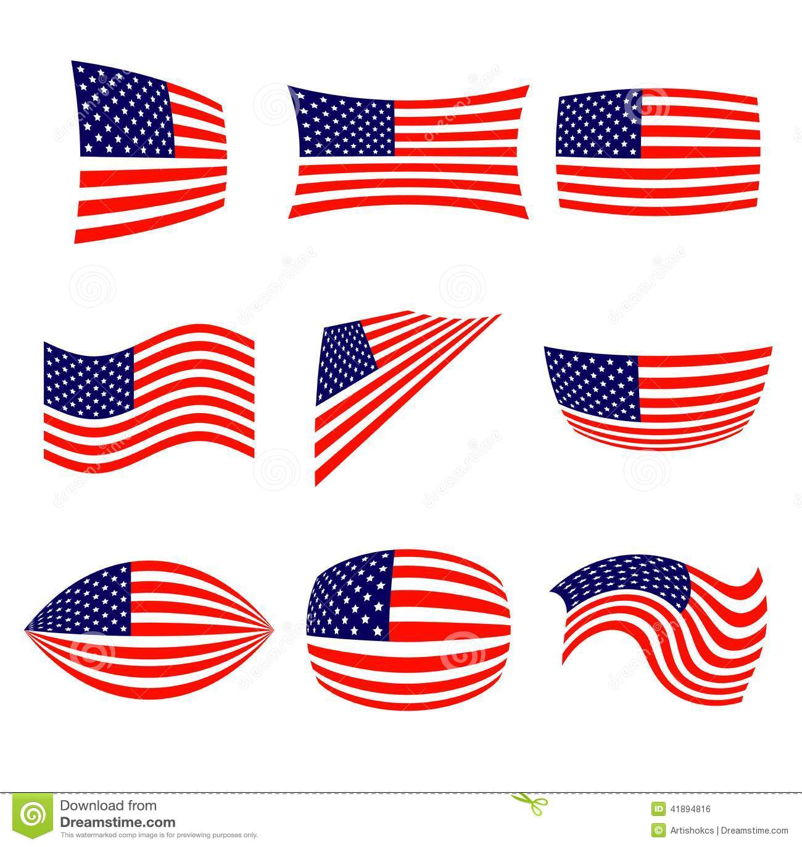 套时髦的美国国旗 独立日设计 也corel凹道例证向量.