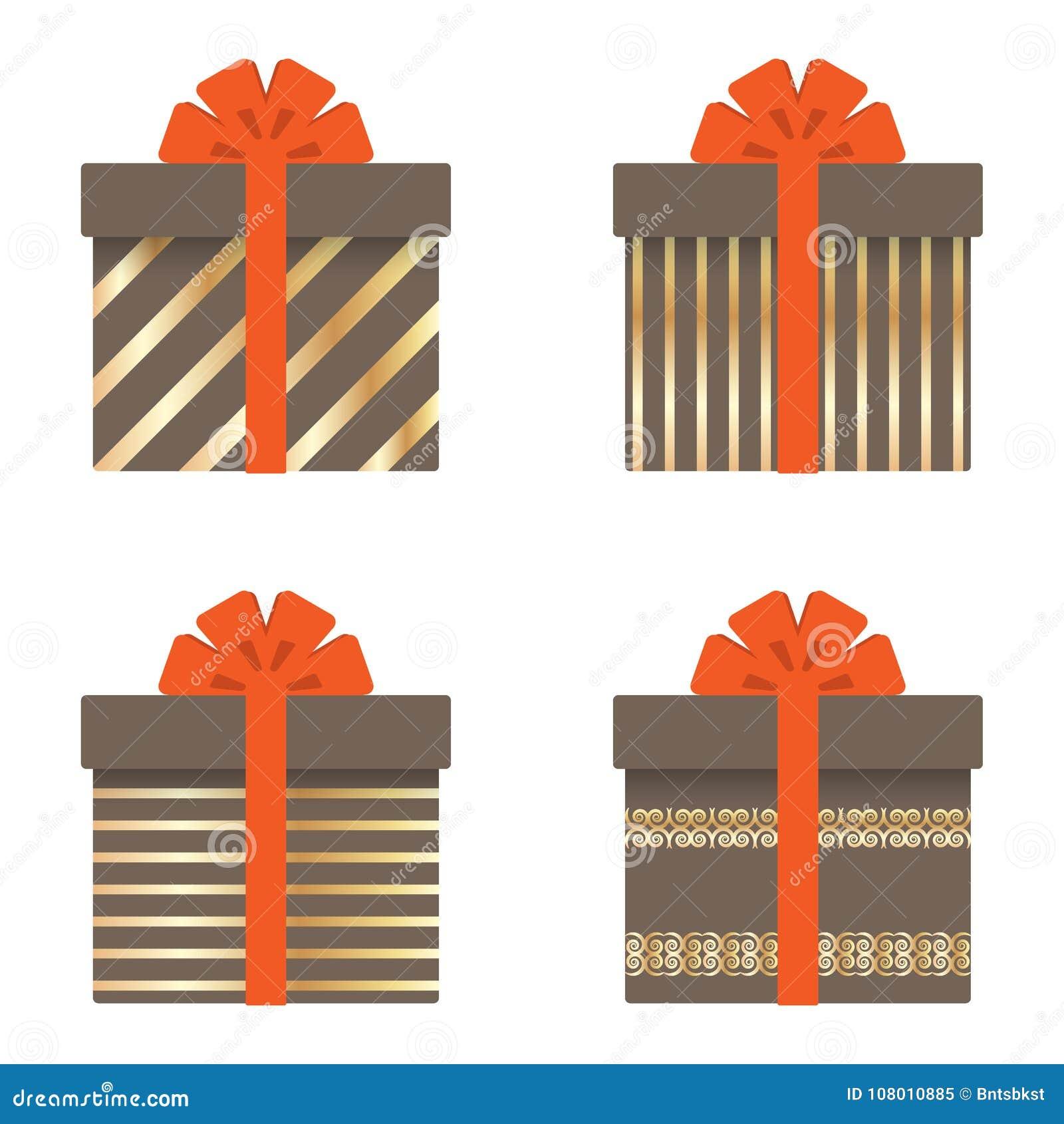 套有丝带、弓、金条纹、圈子和星的礼物盒 也corel凹道例证向量