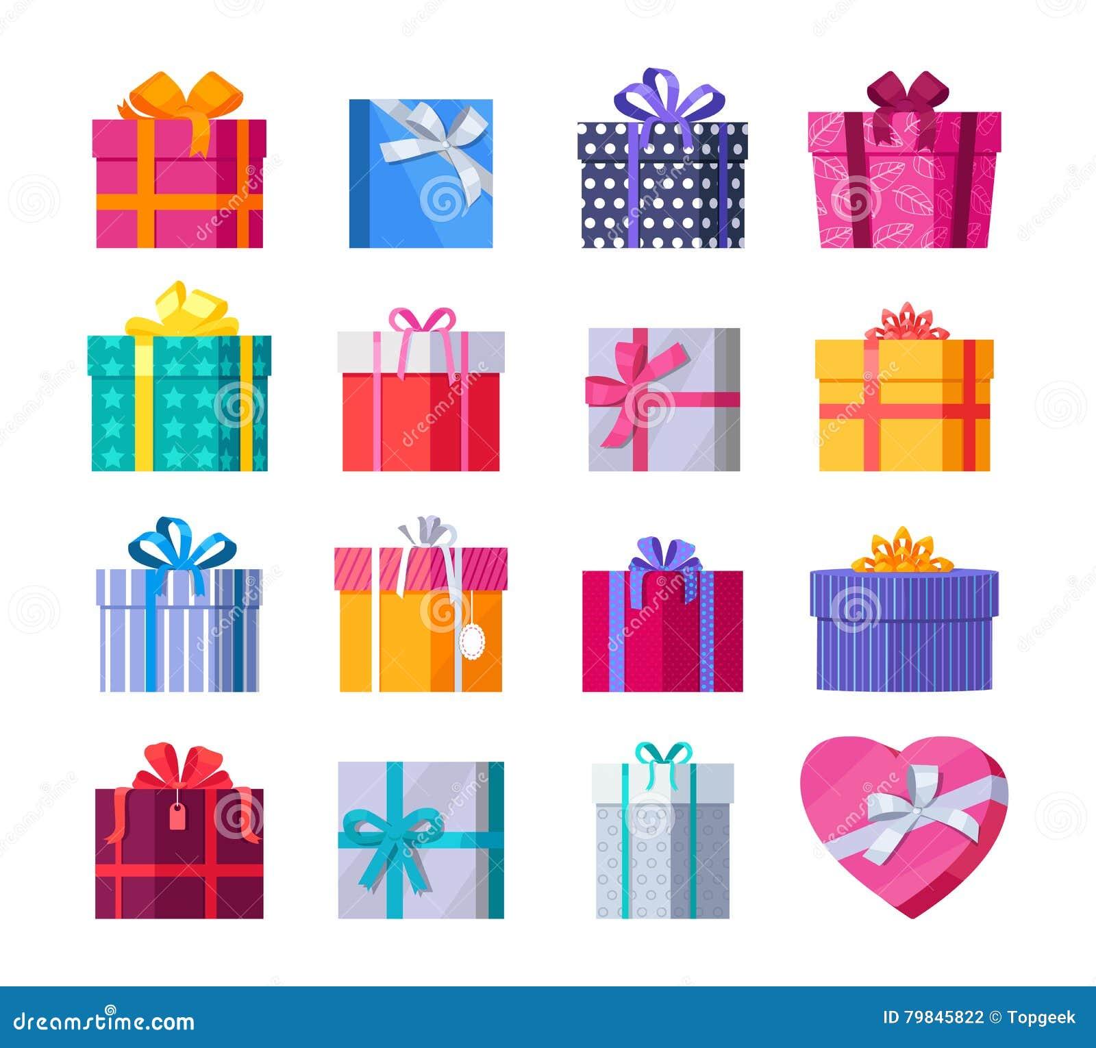 套有丝带和弓的五颜六色的礼物盒