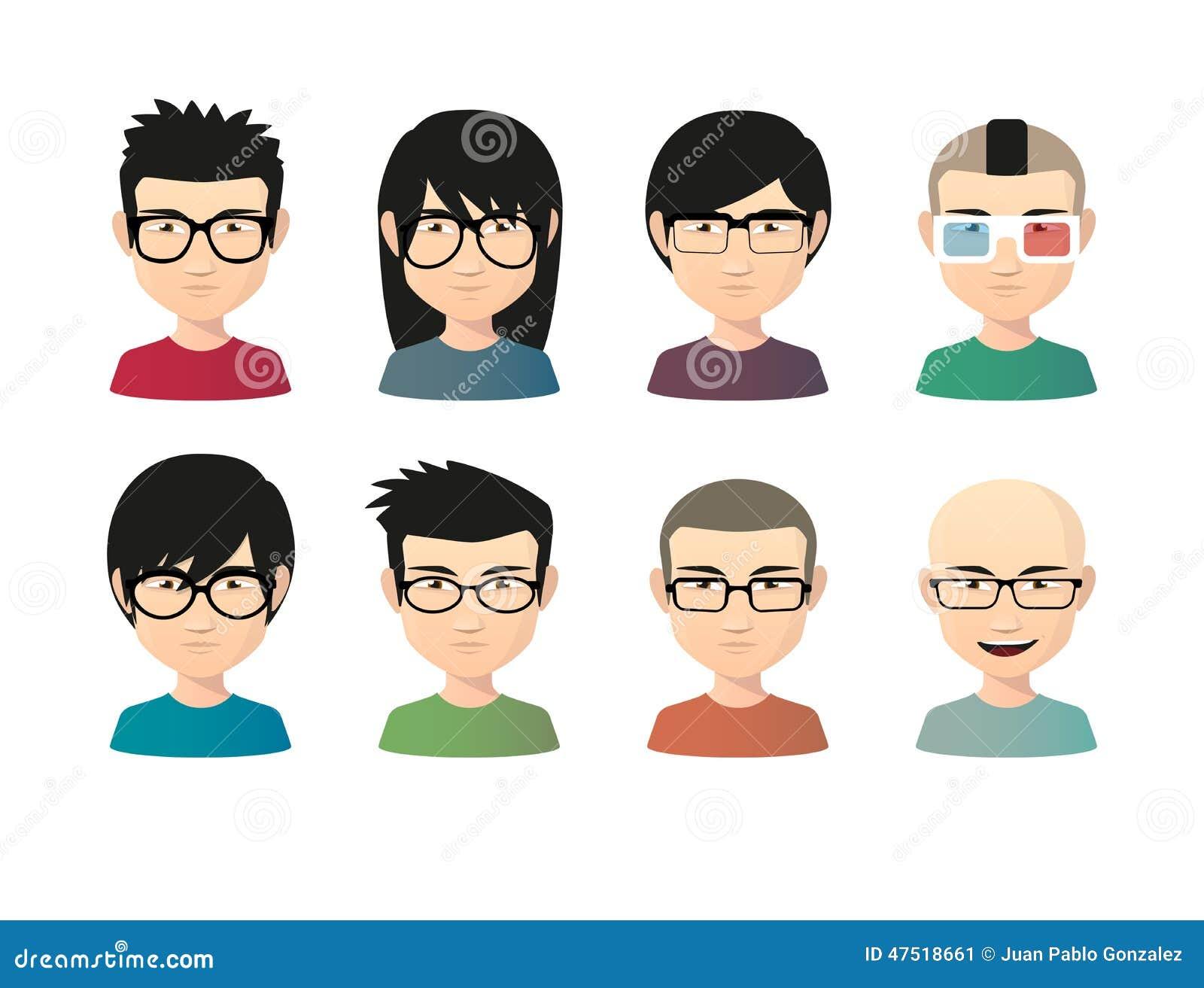 被隔绝的套的例证有戴眼镜的各种各样的发型的亚裔男性具体化.图片