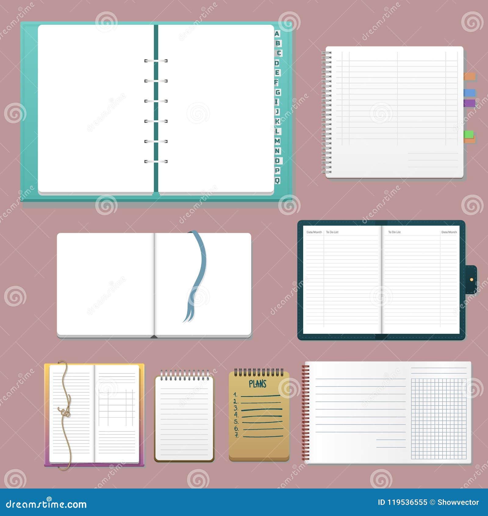 套有页日志办公室板料模板小册子和白纸教育习字簿的开放现实笔记本