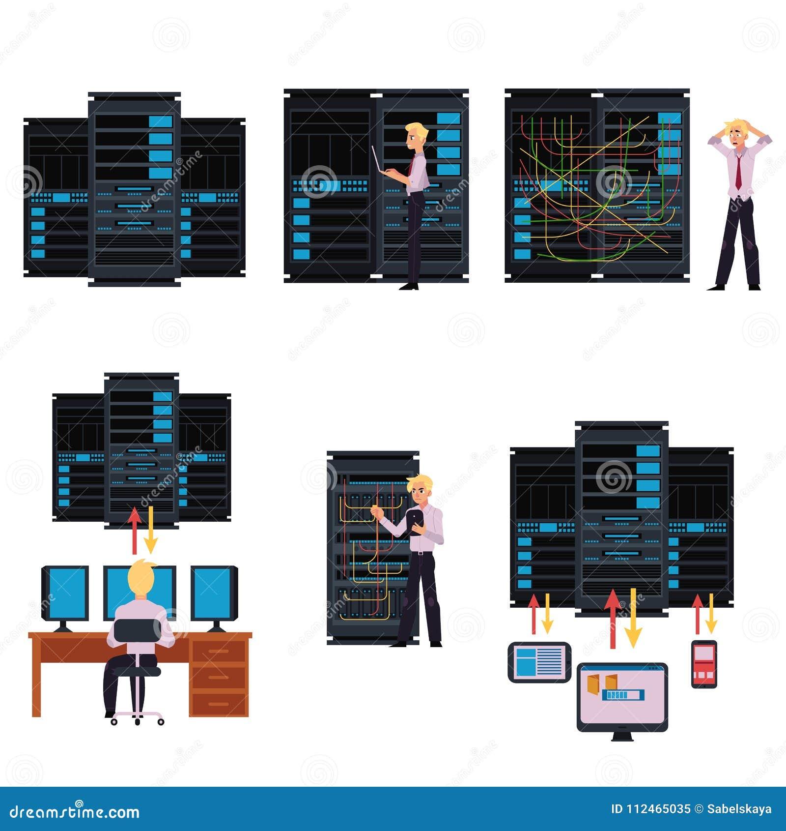 套服务器与数据中心和年轻系统管理员的室图象