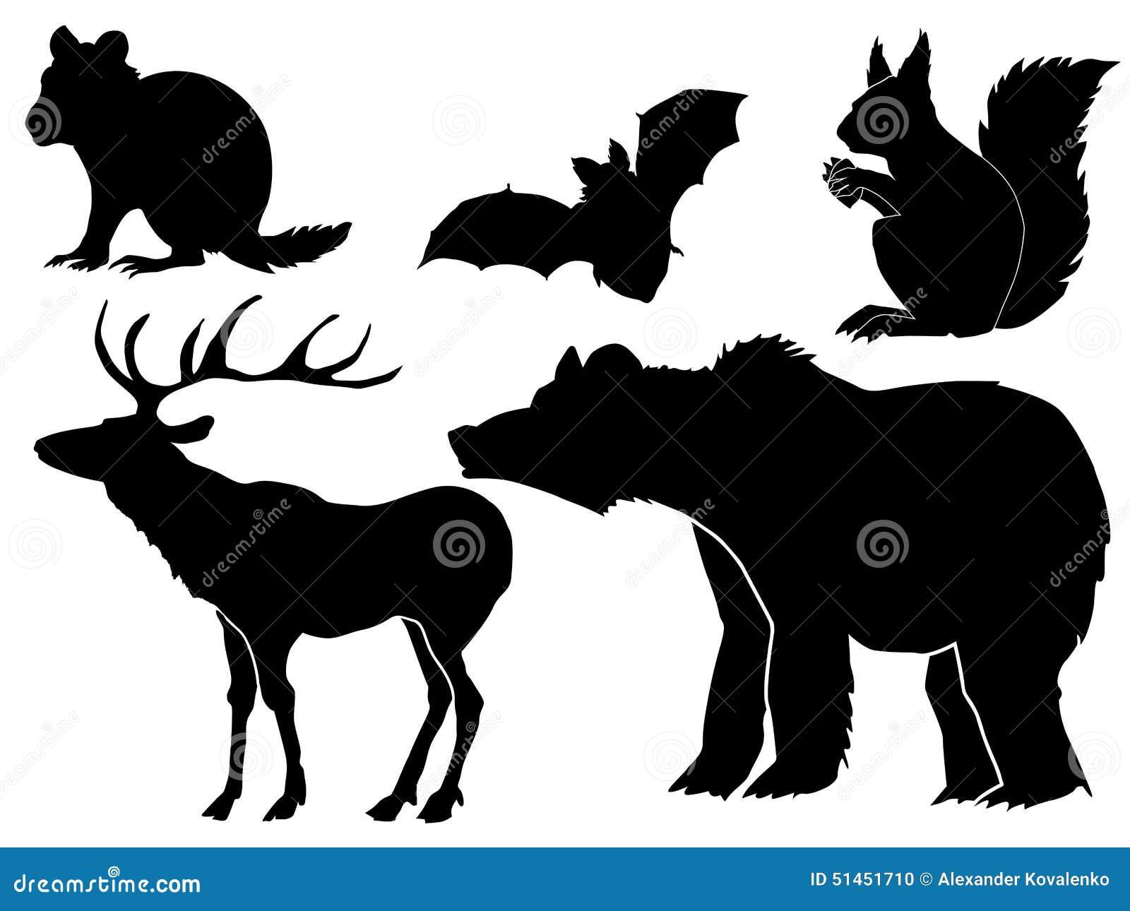 套森林动物剪影.图片