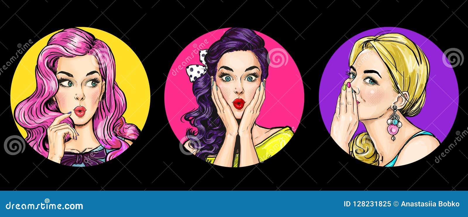 套流行艺术样式的惊奇妇女 有哇面孔的闲话女孩
