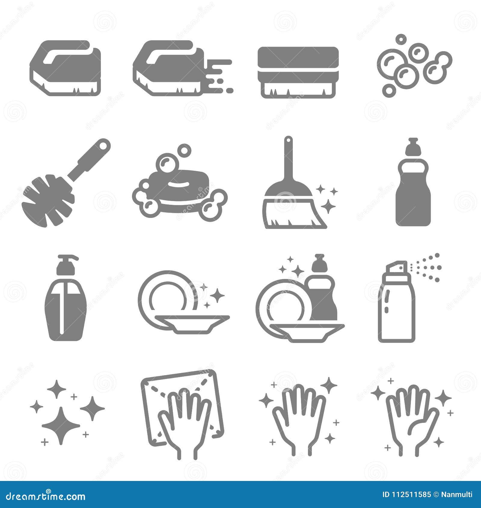 套清洁传染媒介线象 刷子、浪花、泡影、干净的表面,肥皂和更多