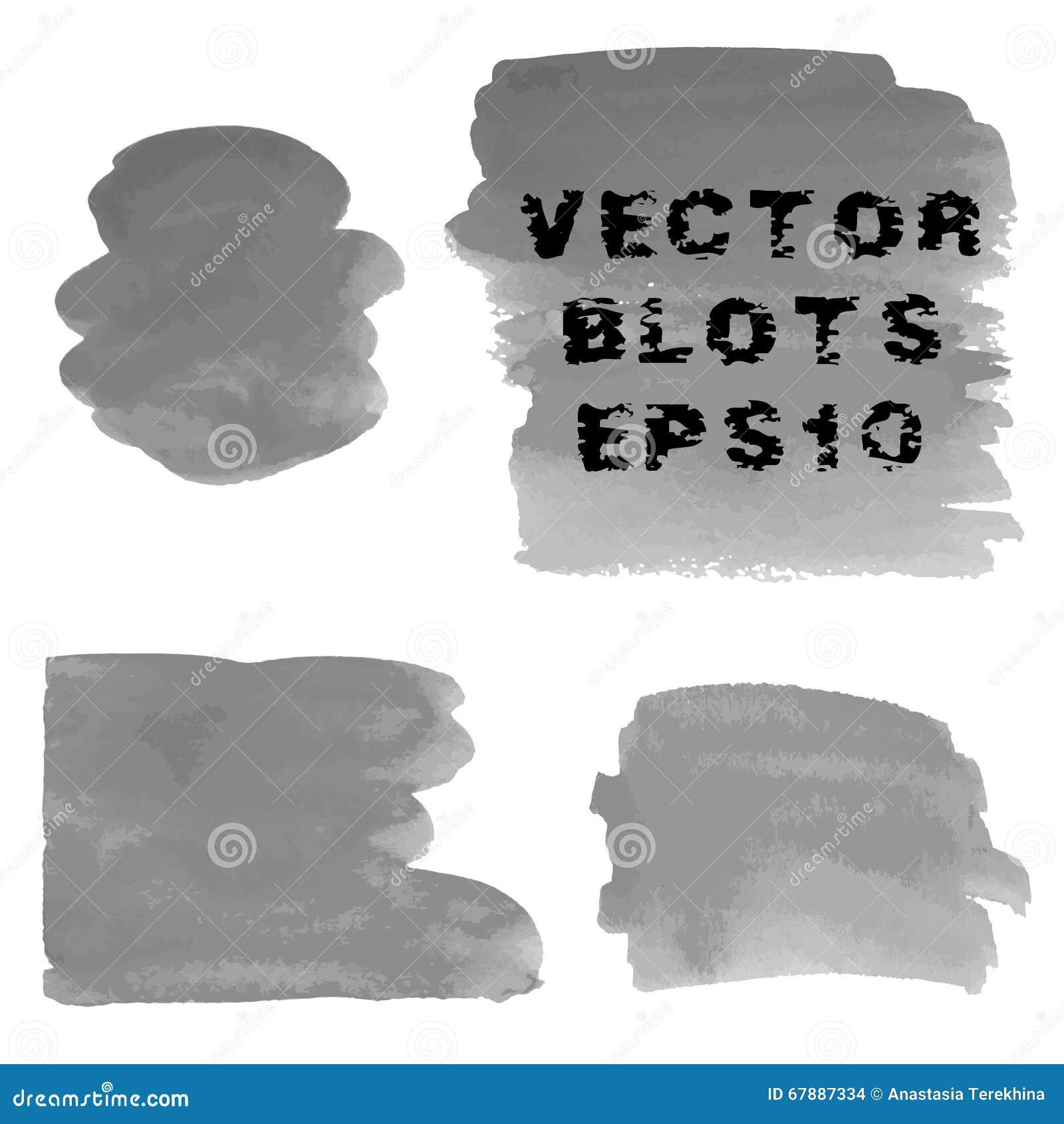 套灰色水彩手画污点难看的东西树荫  向量例证EPS10