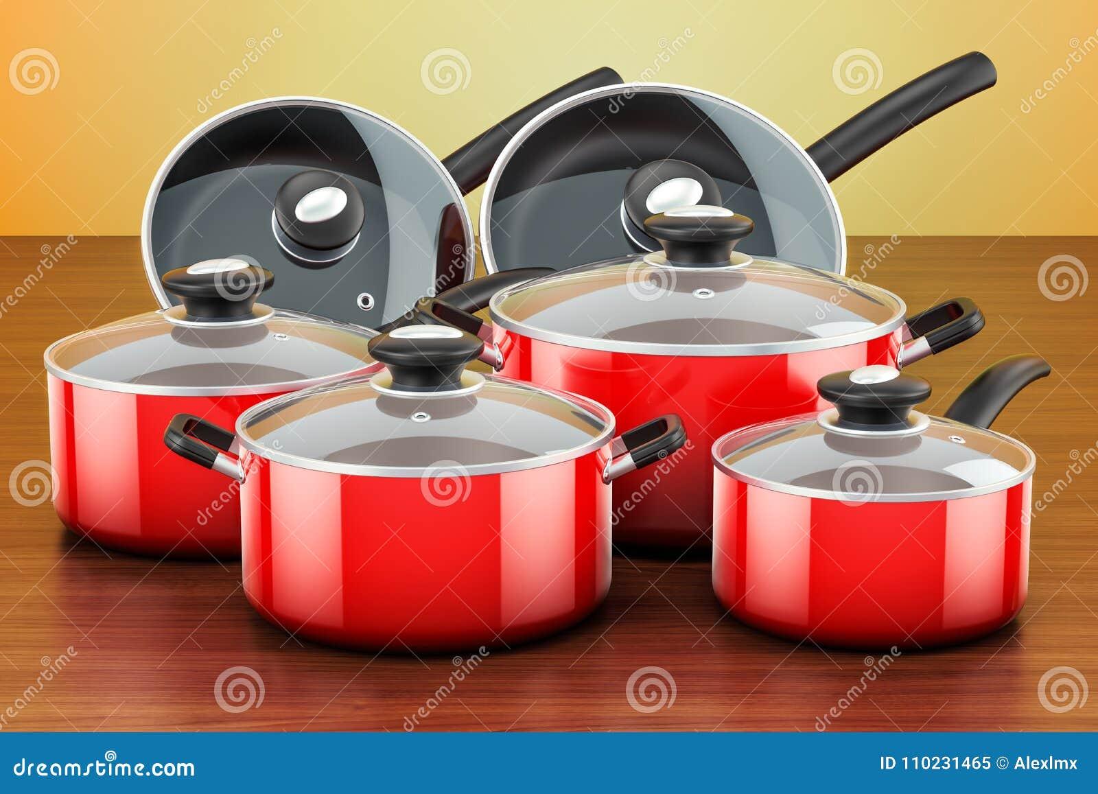 套烹调红色厨房器物和炊具 罐和平底锅