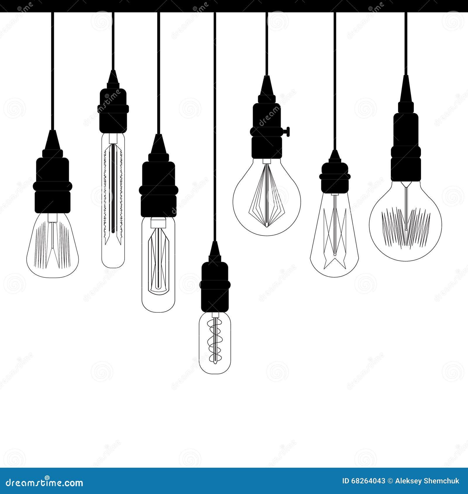 套爱迪生顶楼光 设计编目的减速火箭的灯