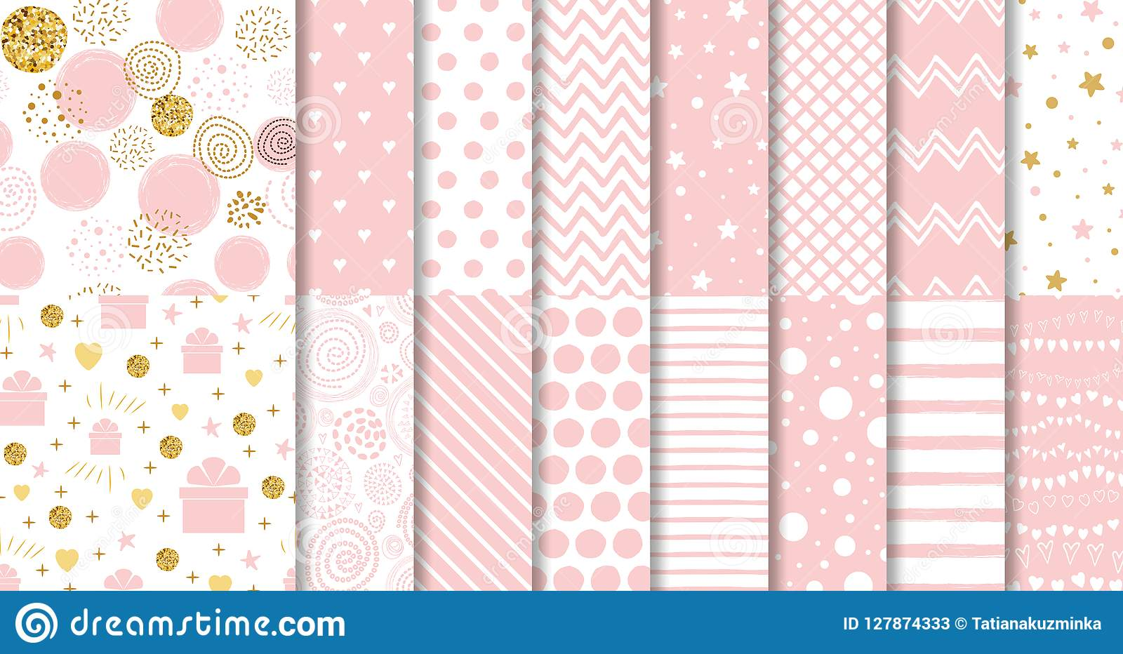 套甜桃红色无缝的样式桃红色加点了背景汇集女婴几何装饰模板传染媒介