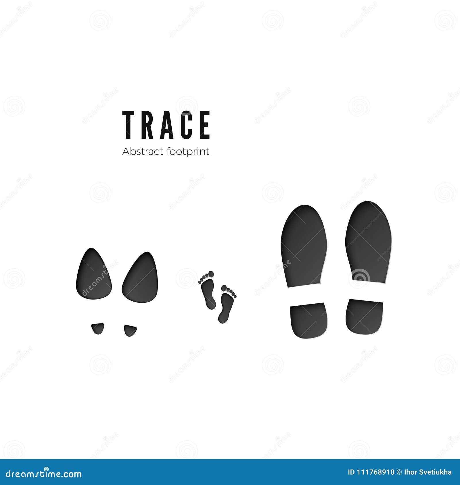 套男性、女性和儿童脚印 脚在白色背景隔绝的印刷品踪影黑暗的象  向量