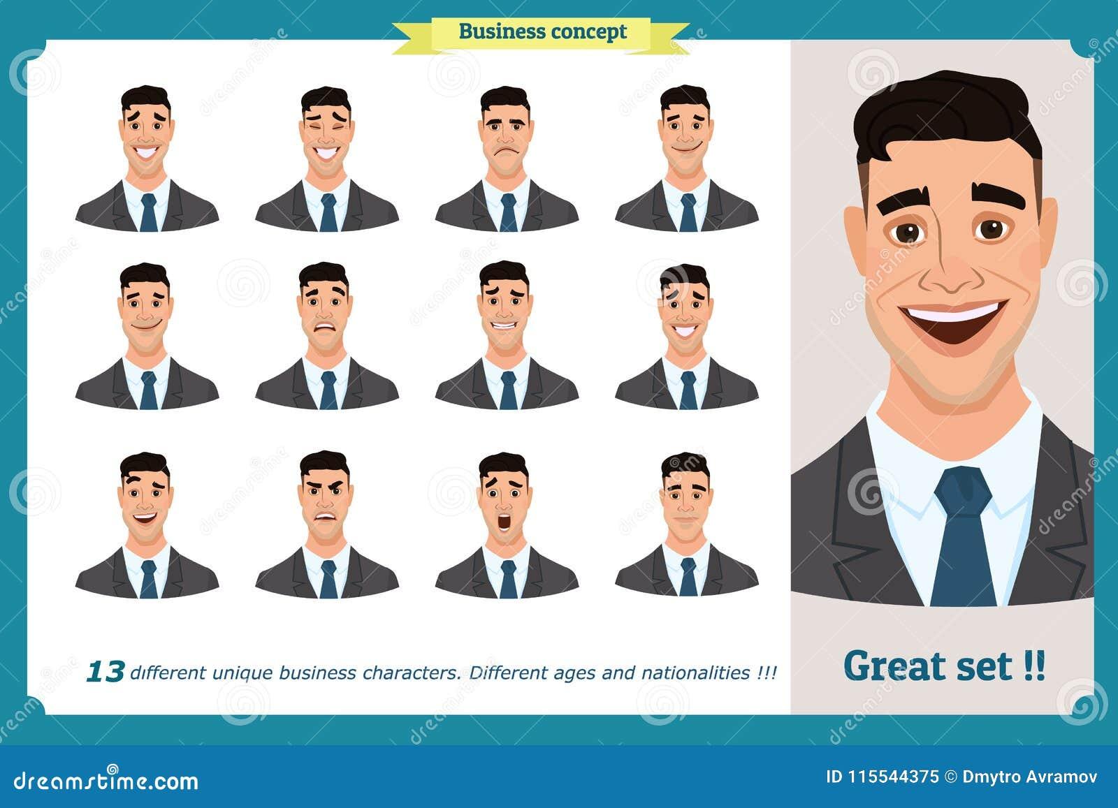 套男性面部情感 用不同的表示的年轻商人字符 在动画片样式的传染媒介平的例证