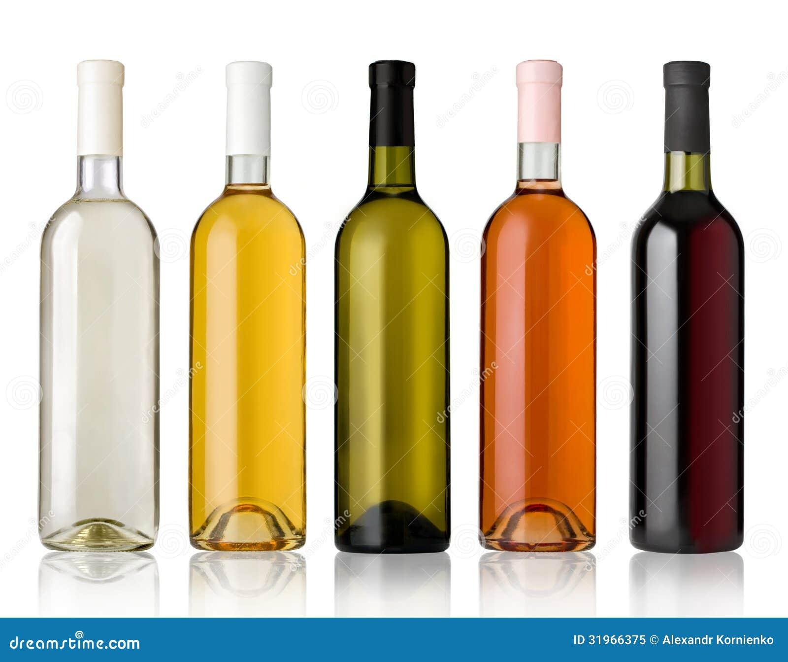 套白色、玫瑰和红葡萄酒瓶。