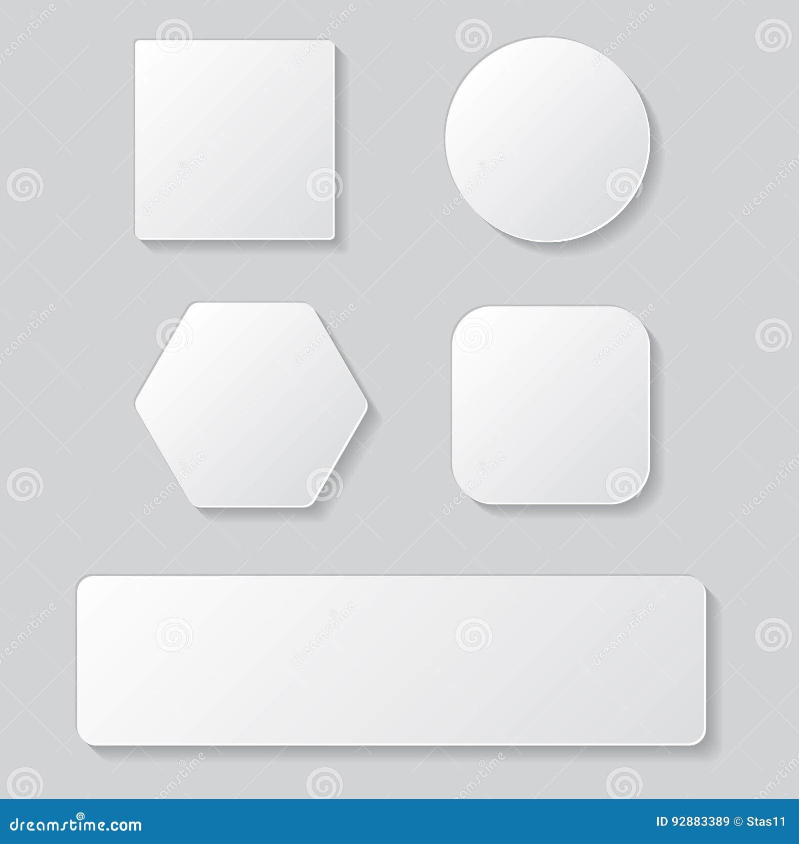 套白色空白的按钮 圆的正方形被环绕的按钮