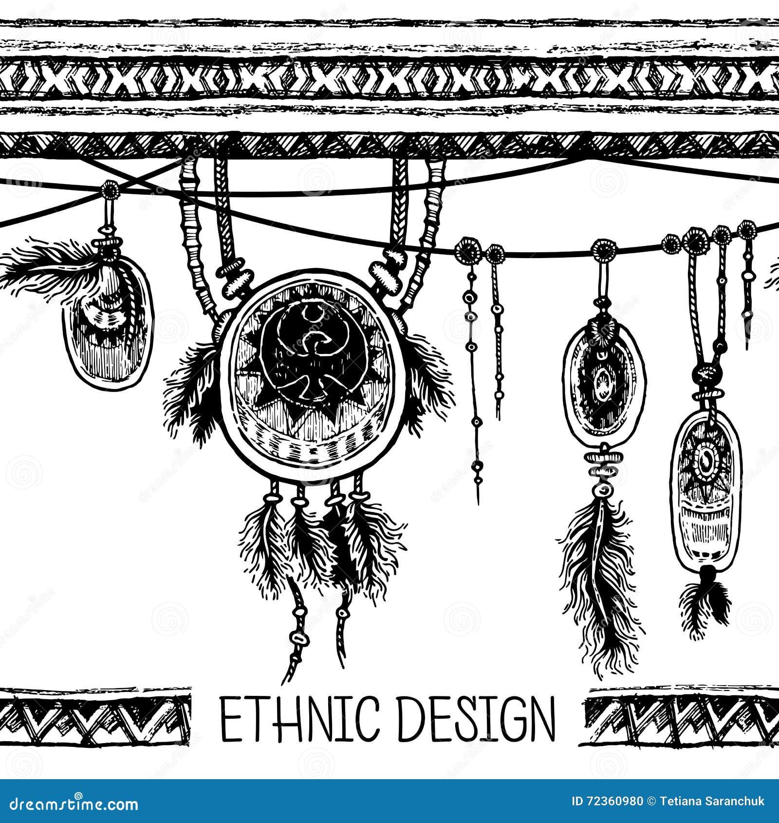 套种族羽毛 在当地样式的种族无缝的样式 与羽毛的与垂饰的边界和条纹