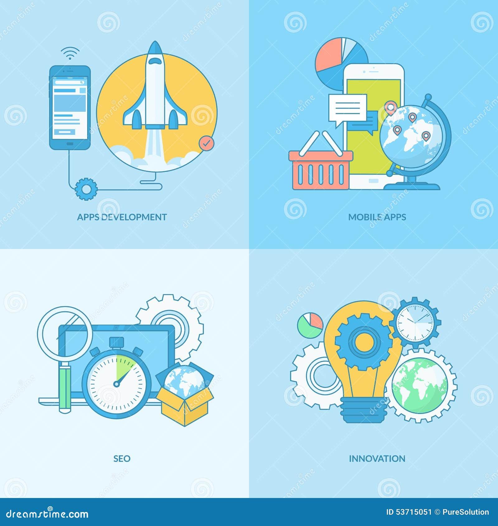 套线流动apps发展的概念象