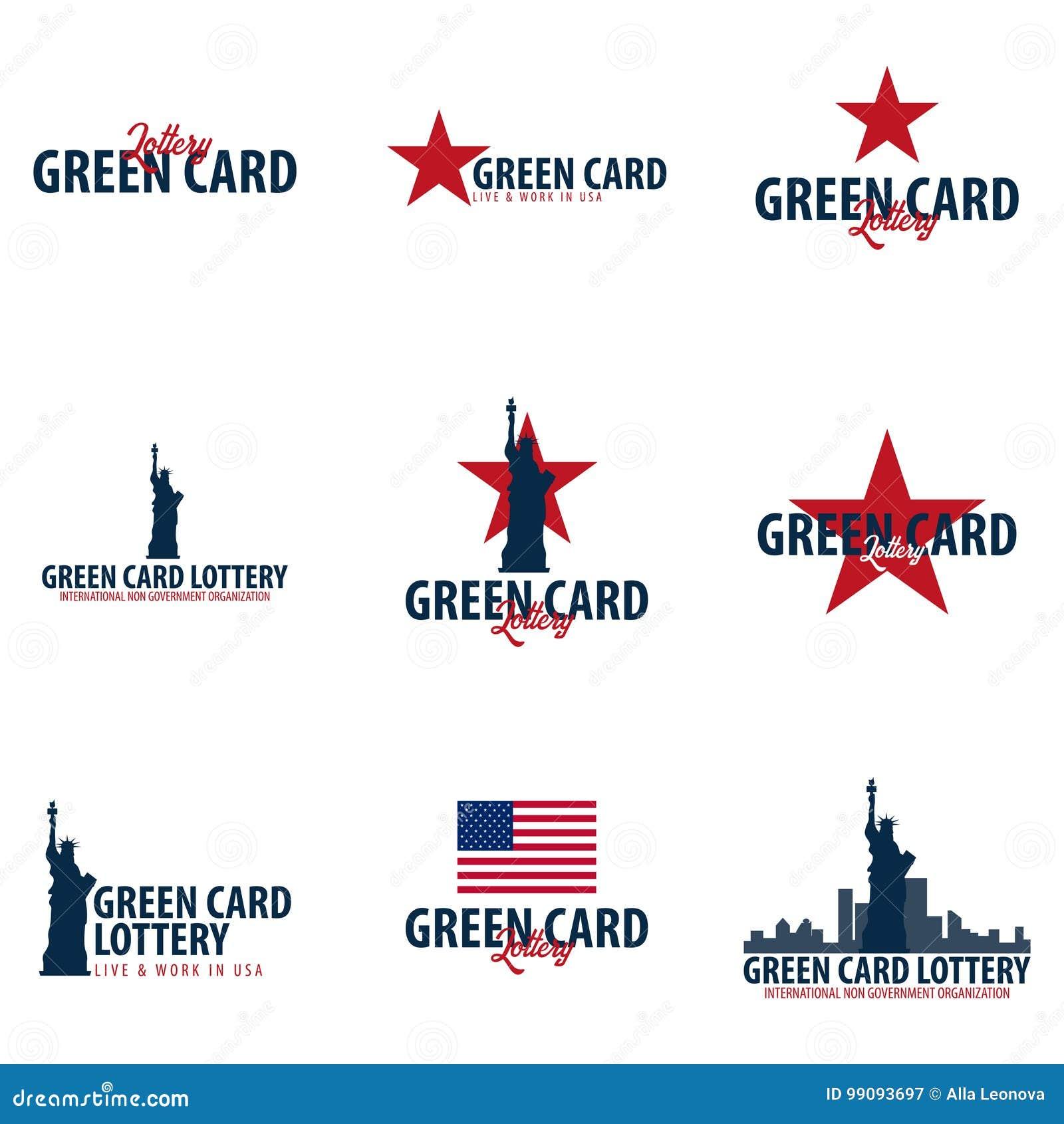 套绿卡抽奖商标或象征 移民和签证向美国