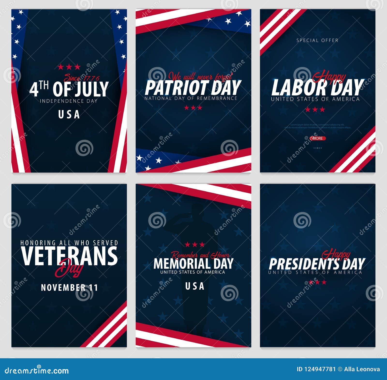 套美国庆祝 公休日 7月4日,爱国者天、劳动节、经验丰富的` s天,纪念品和总统天