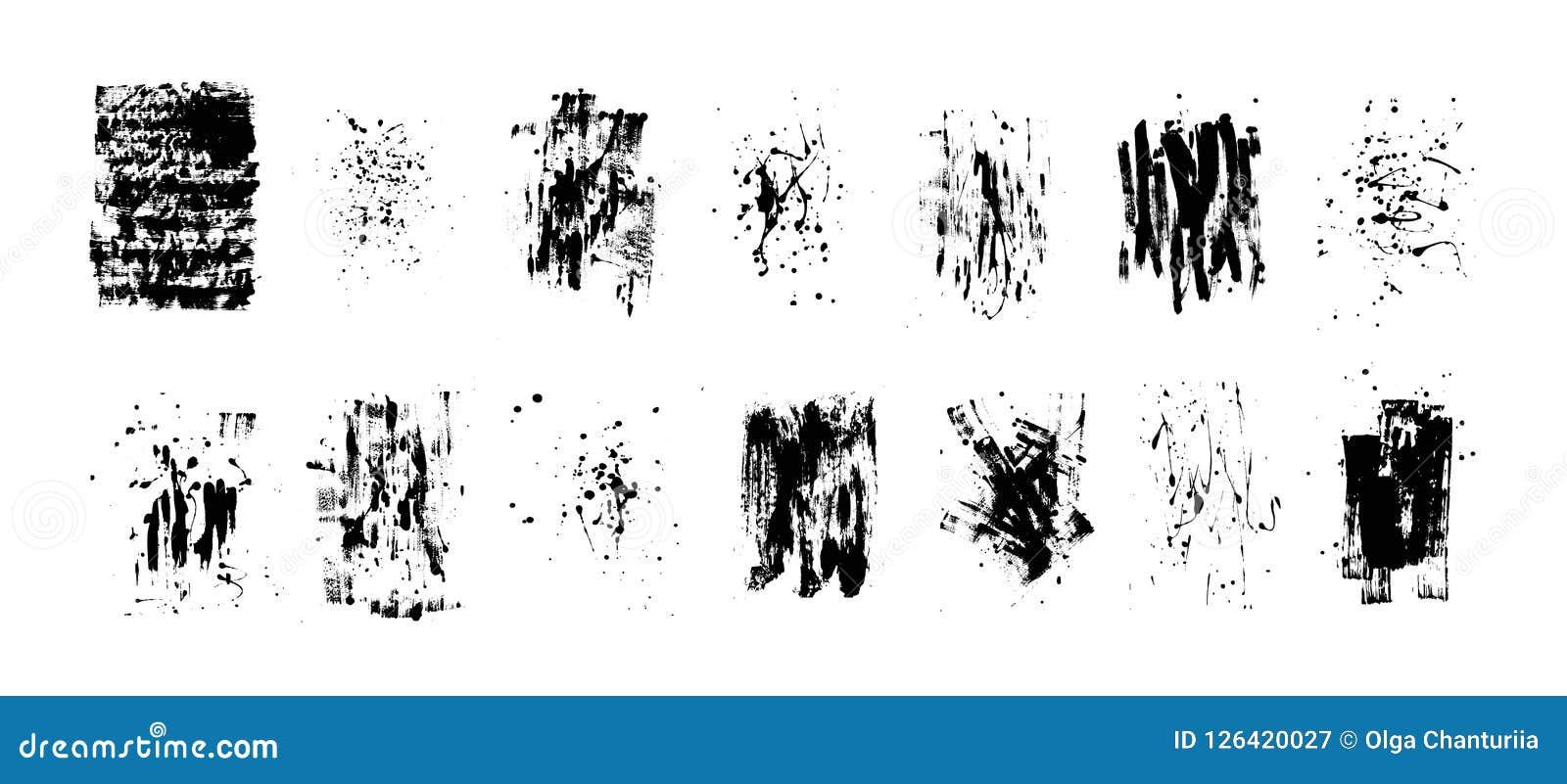 套艺术性的黑难看的东西背景 最佳的下载原来的打印准备好的纹理导航 肮脏的艺术性的设计元素 刷子冲程,泼溅物