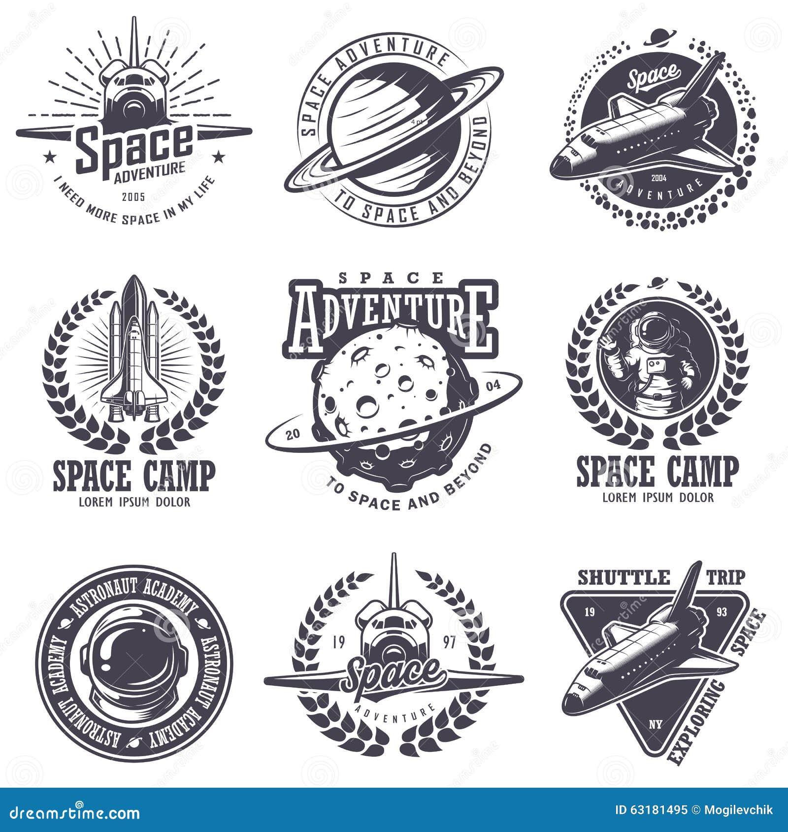 套葡萄酒空间和宇航员徽章