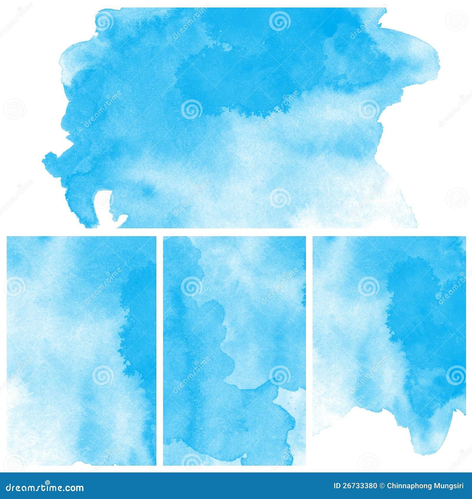 套蓝色抽象水彩艺术油漆