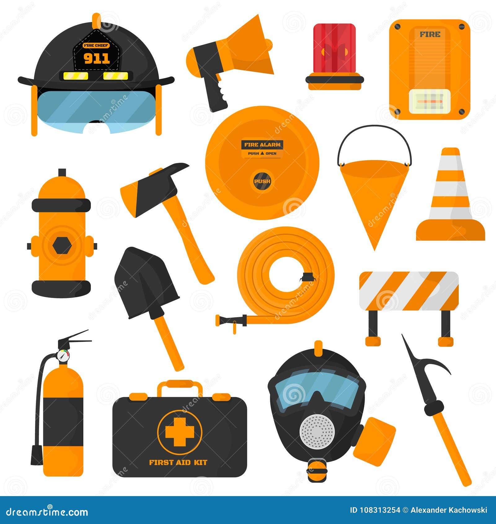 套被设计的消防队员元素 色的消防队紧急象和水安全危险设备 消防员保护