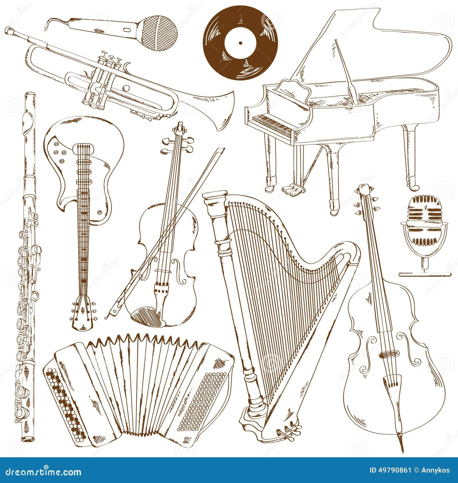 乐器简笔画_手拉的套被隔绝的剪影乐器.
