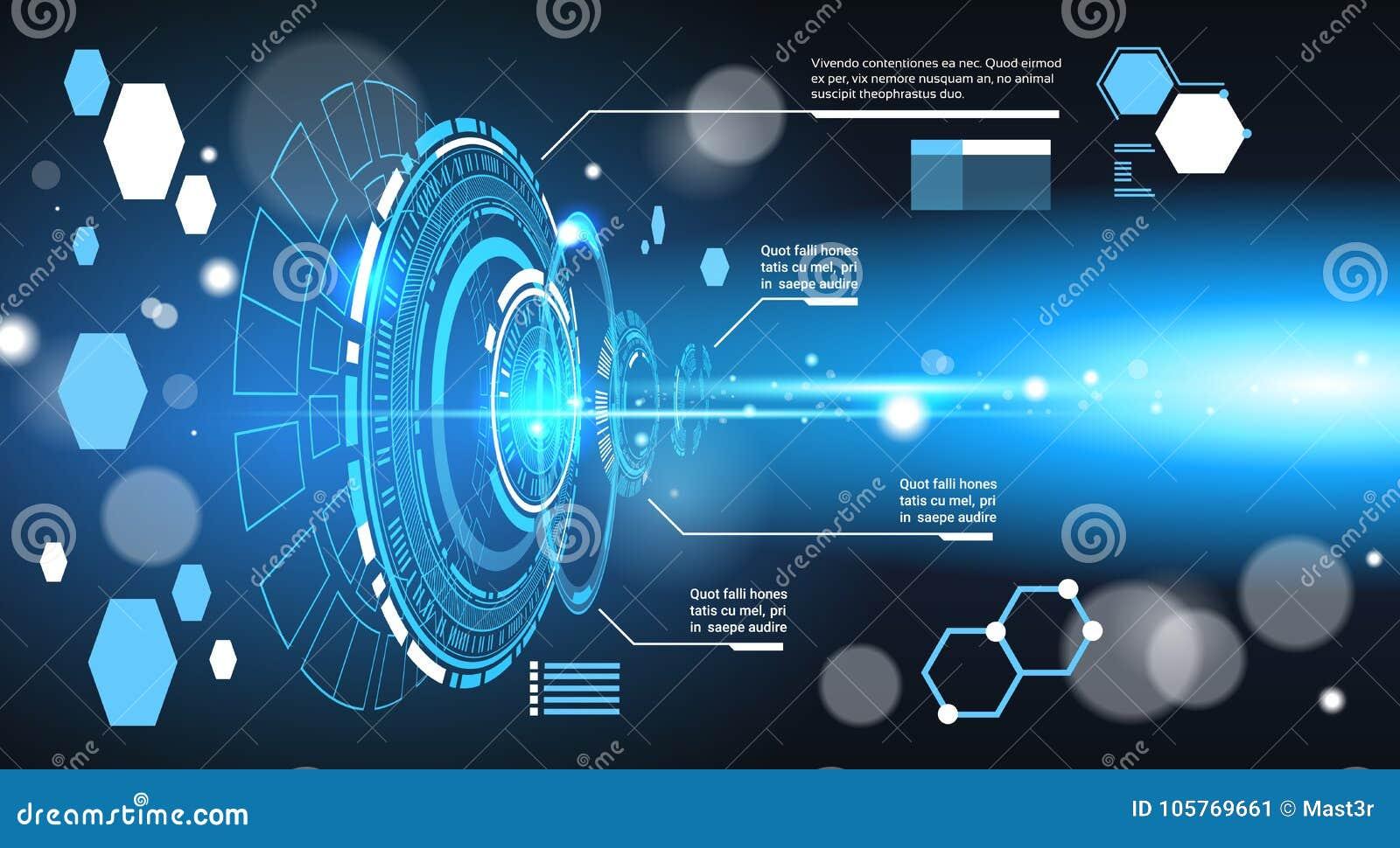 套计算机未来派Infographic元素技术摘要背景模板图和图表,与拷贝的横幅