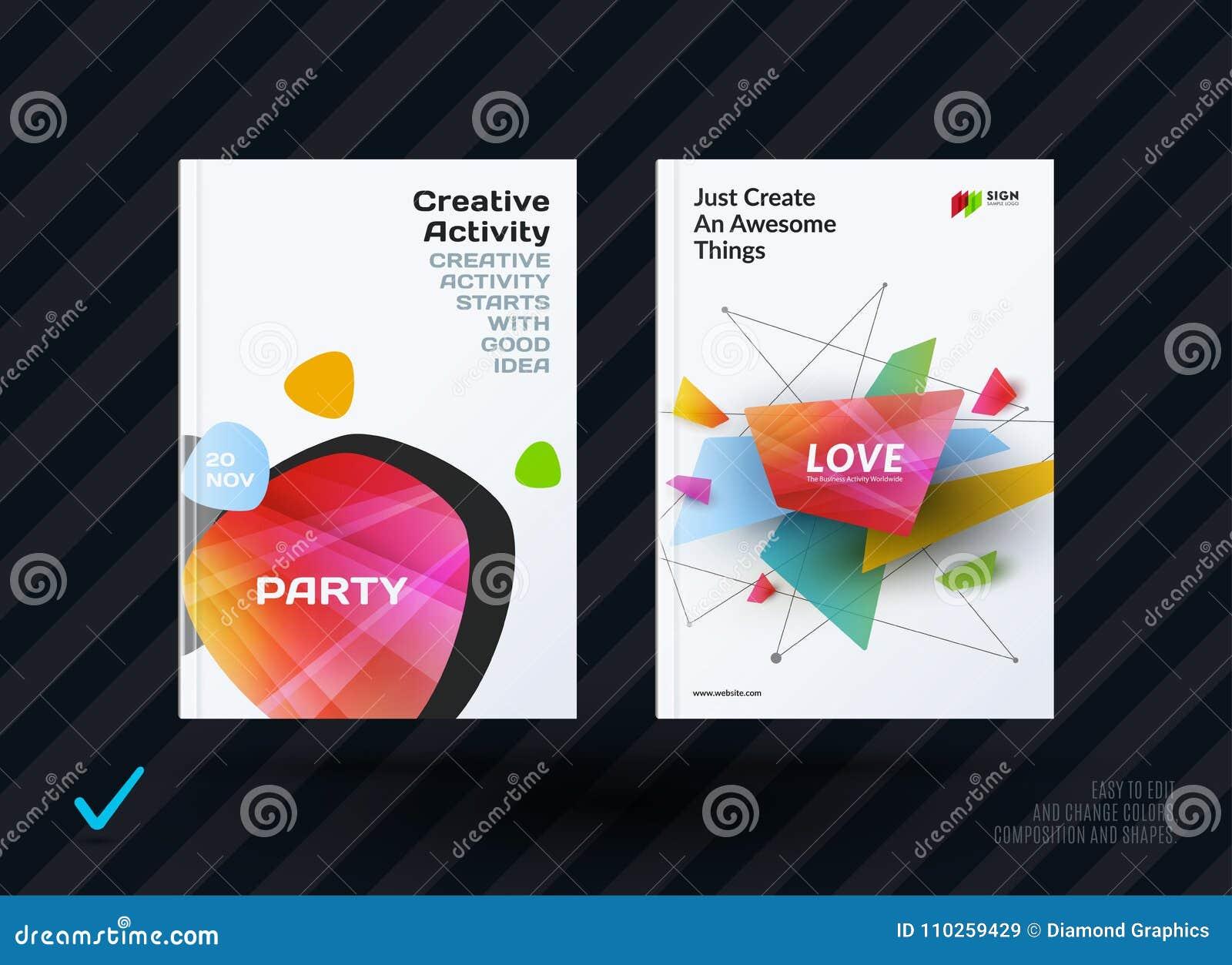 套设计小册子,抽象年终报告,水平的盖子布局,在A4的飞行物与传染媒介五颜六色被环绕的