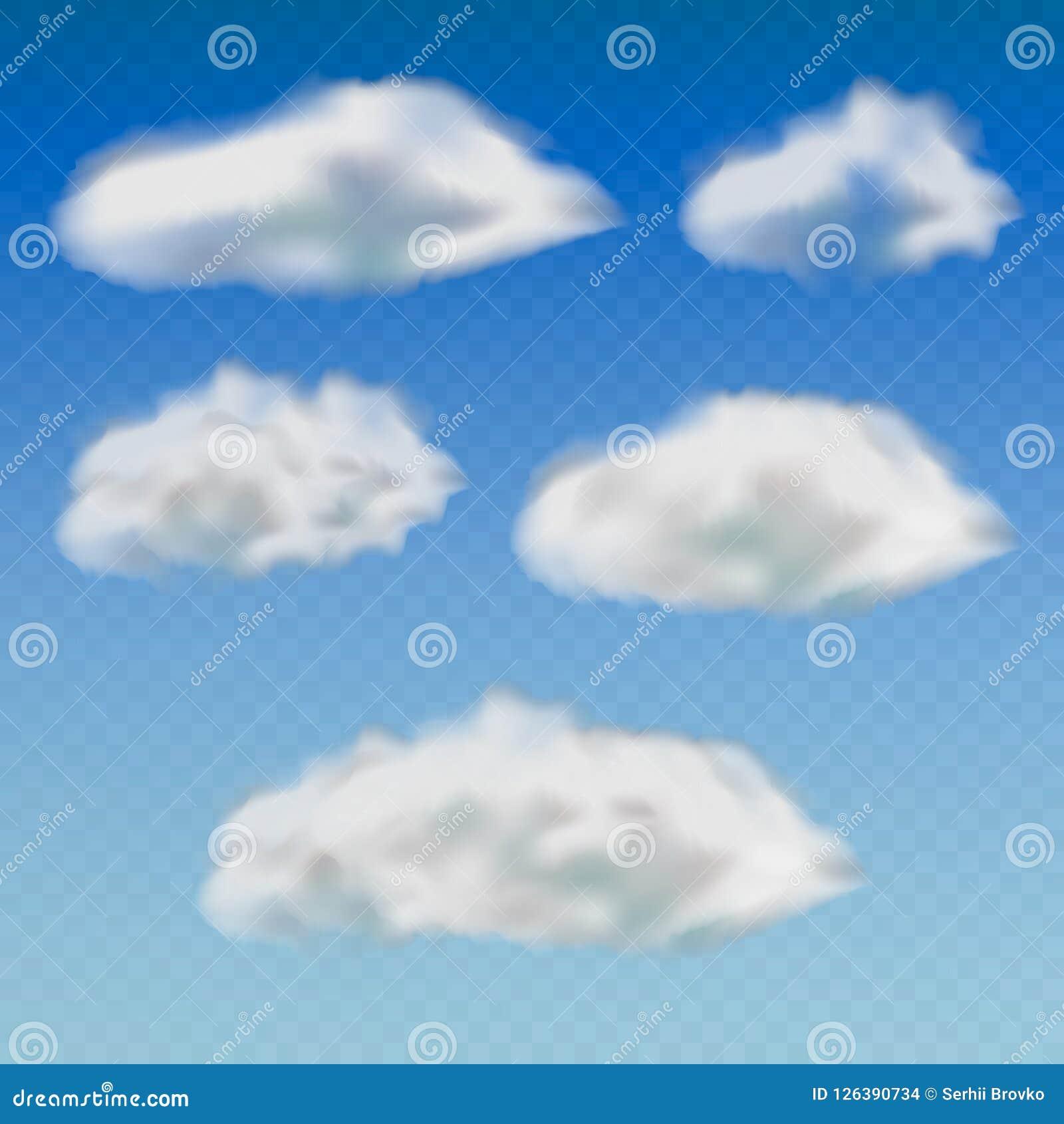 套透明不同的云彩 隔绝在透明背景 也corel凹道例证向量