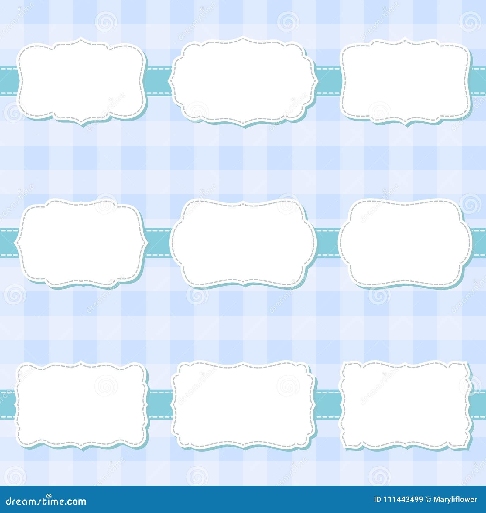 套逗人喜爱的动画片装饰缝合的空白的框架 婴儿送礼会的,横幅,贴纸,剪贴薄模板形状标签
