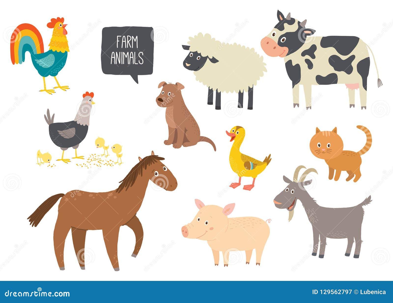 套逗人喜爱的牲口 马,母牛,绵羊,猪,鸭子,母鸡,山羊,狗,猫,公鸡 动画片传染媒介手拉的eps 10