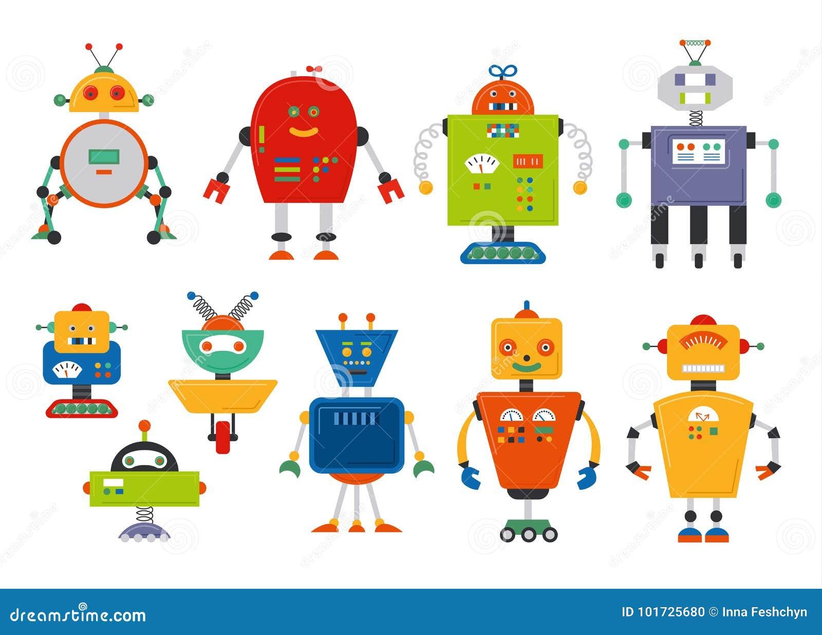 套逗人喜爱的葡萄酒动画片机器人