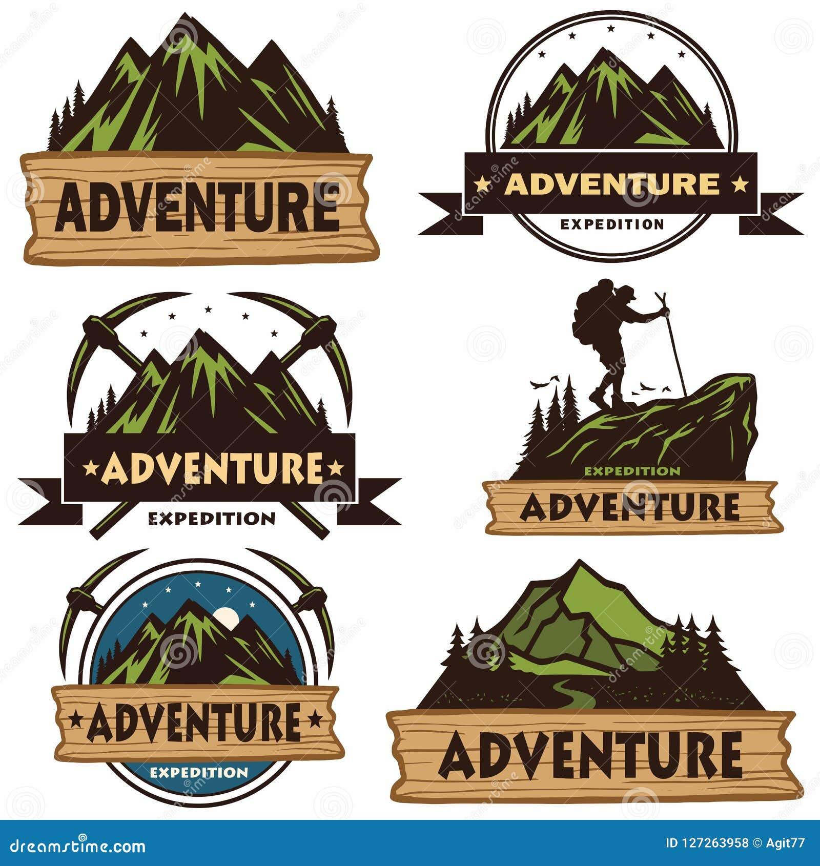 套野营的商标、模板、传染媒介设计元素、室外冒险山和森林远征 葡萄酒象征和B