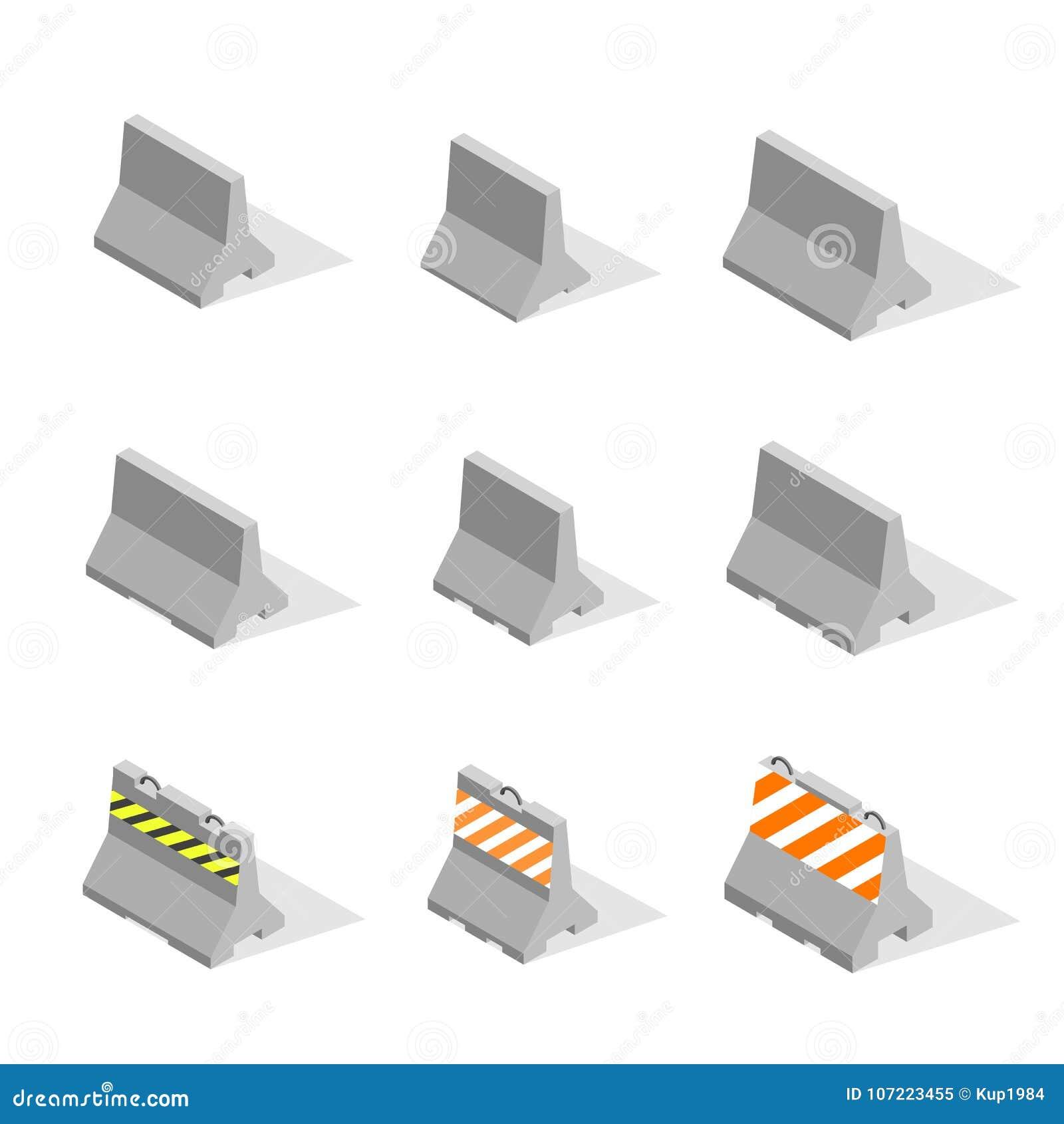 套铁在3D的混凝土路障碍,传染媒介例证