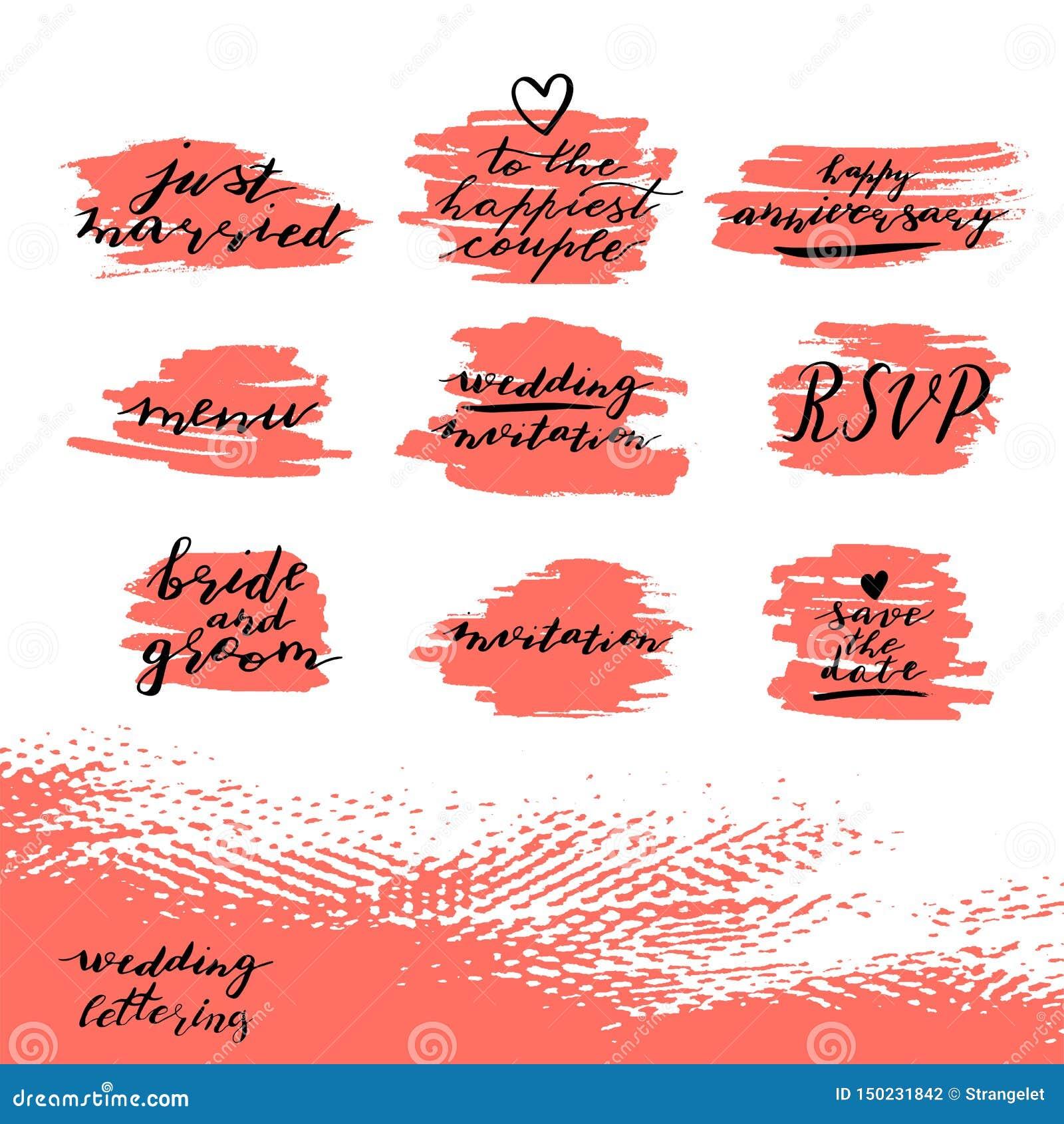 套除日期、rsvp、新娘和新郎,婚礼邀请外的习惯手字法词组,结婚纪念日快乐