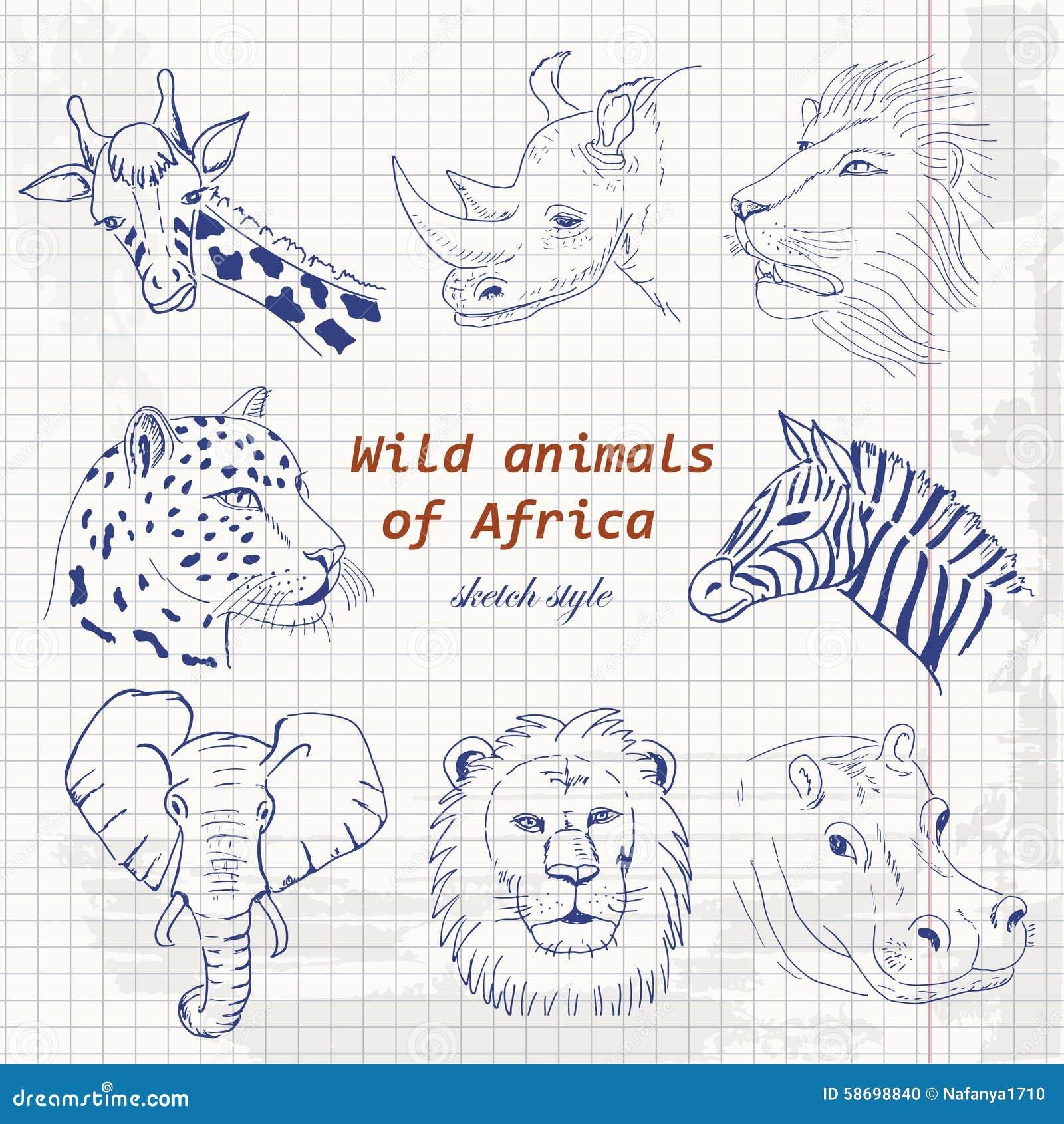 套非洲的野生动物剪影样式的在纸