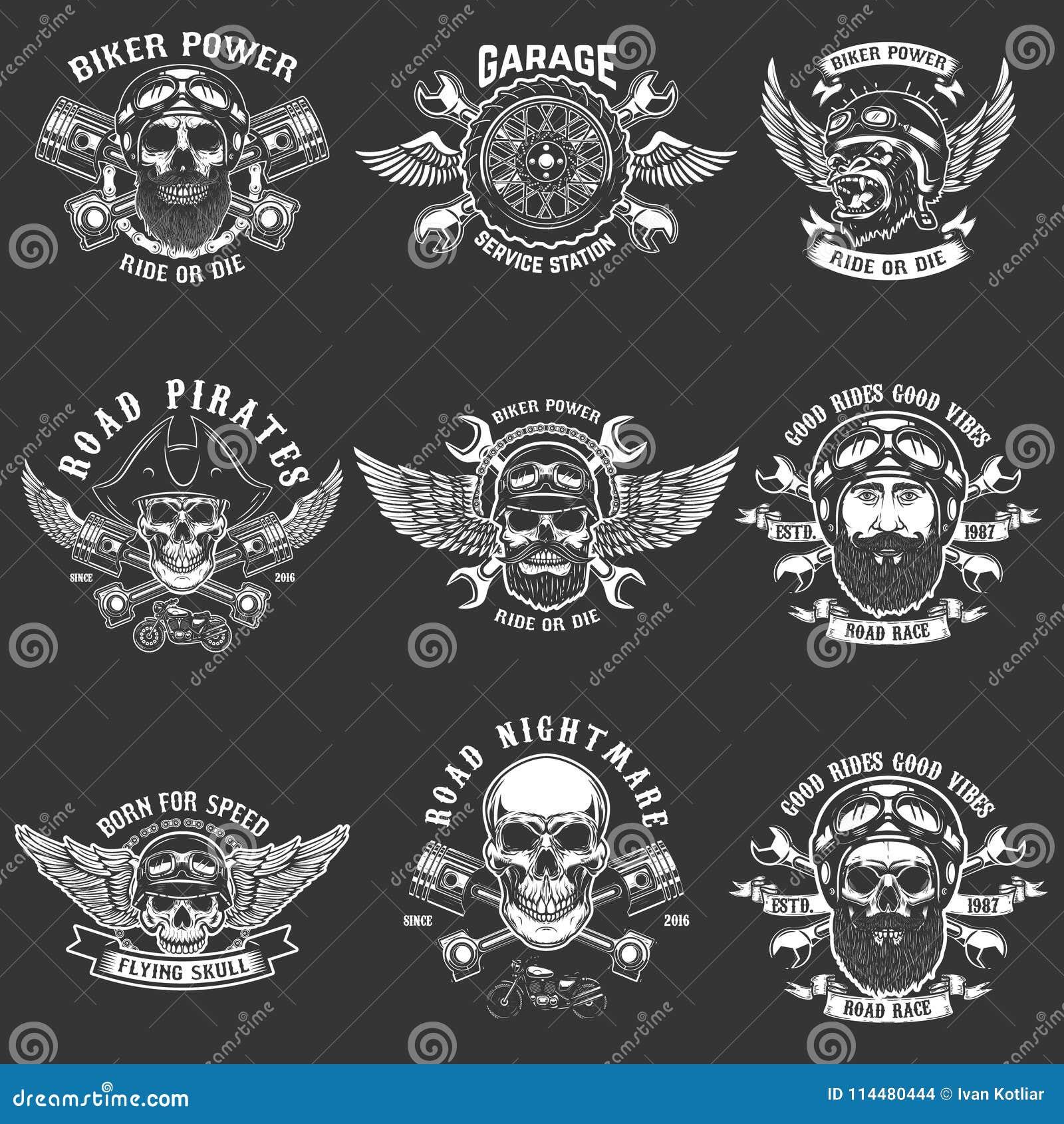 套骑自行车的人俱乐部象征模板 葡萄酒摩托车标签 设计商标的,标签,象征,标志元素