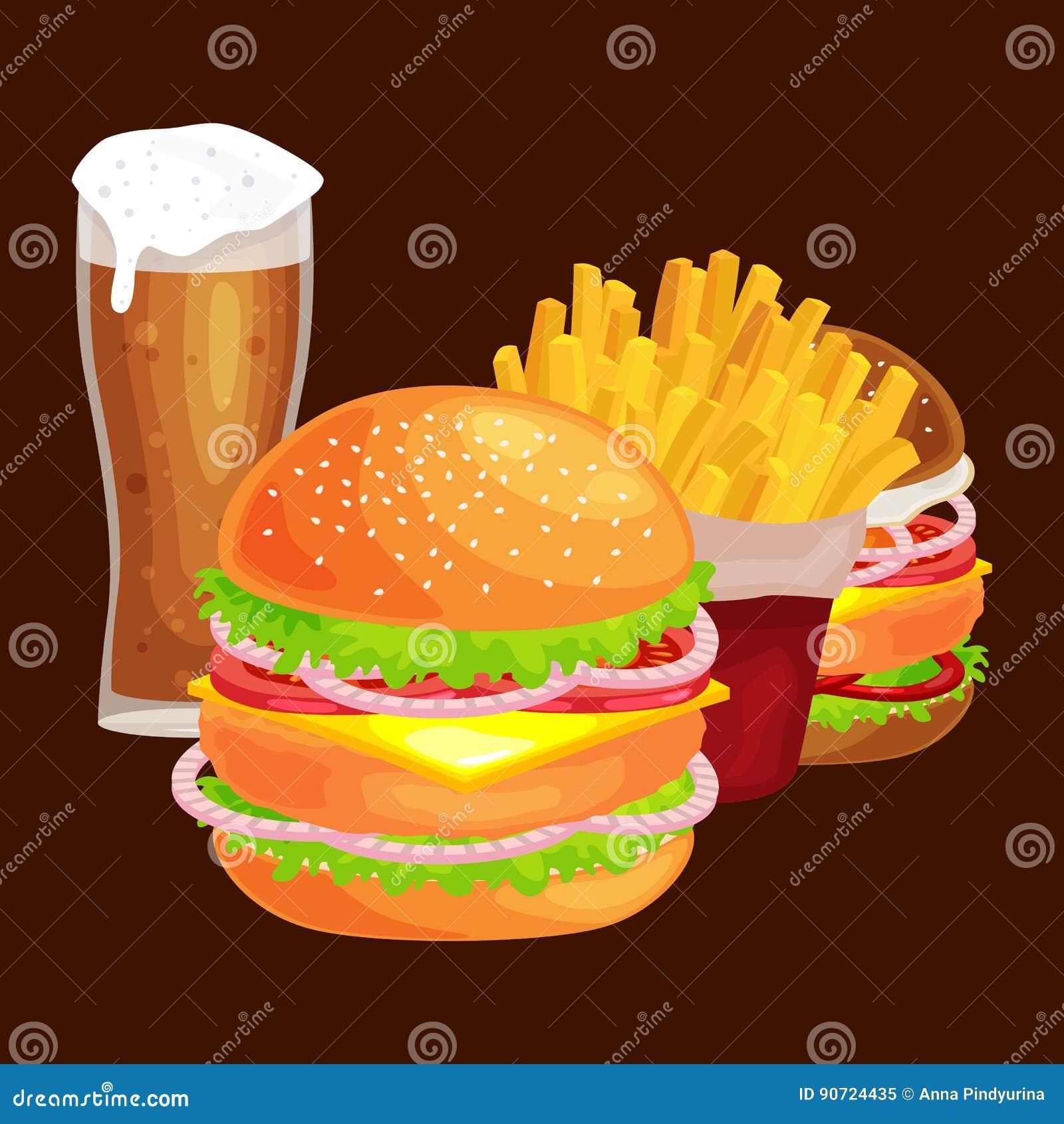 套鲜美汉堡烤了牛肉和新鲜蔬菜穿戴用快餐的,美国汉堡包快餐调味汁小圆面包